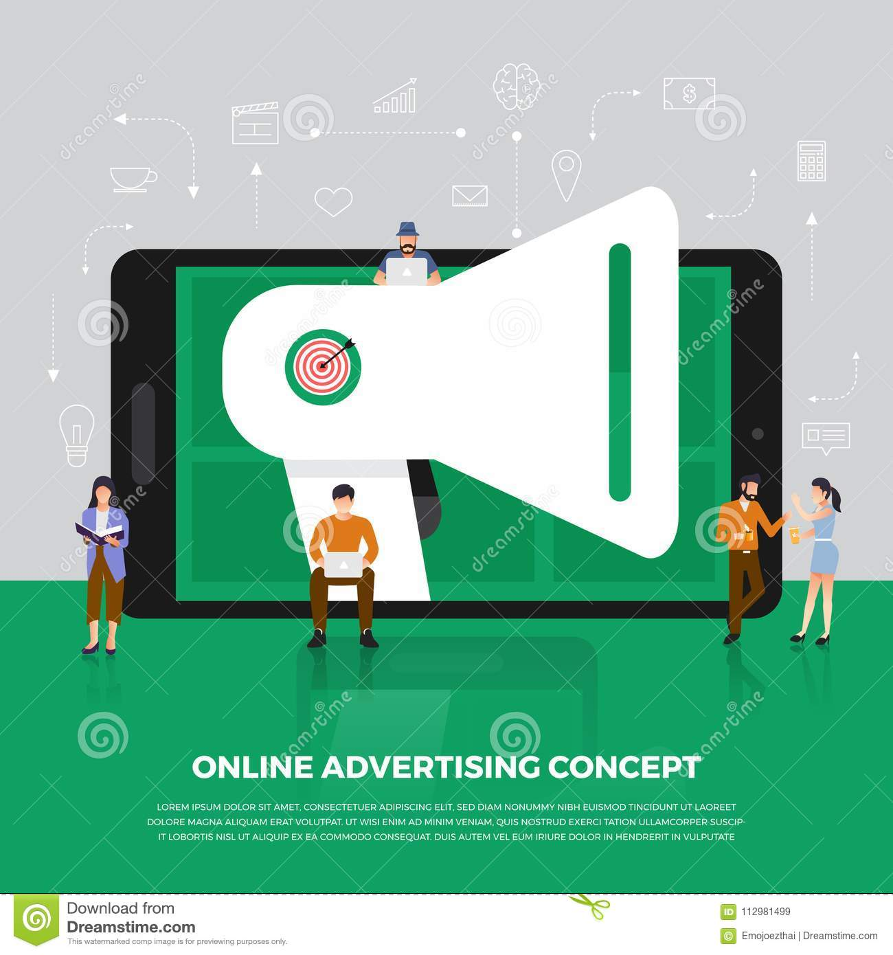 Flat design concept advertising digital marketing. Group people