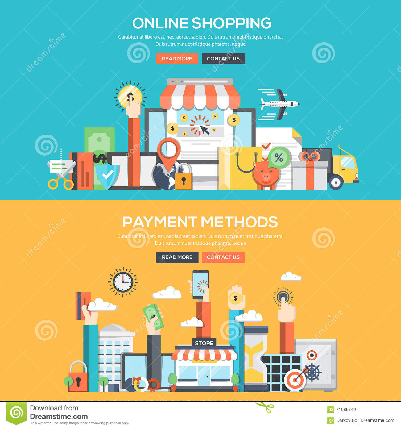 Online shopping flat concept background banner vector for Outlet design online