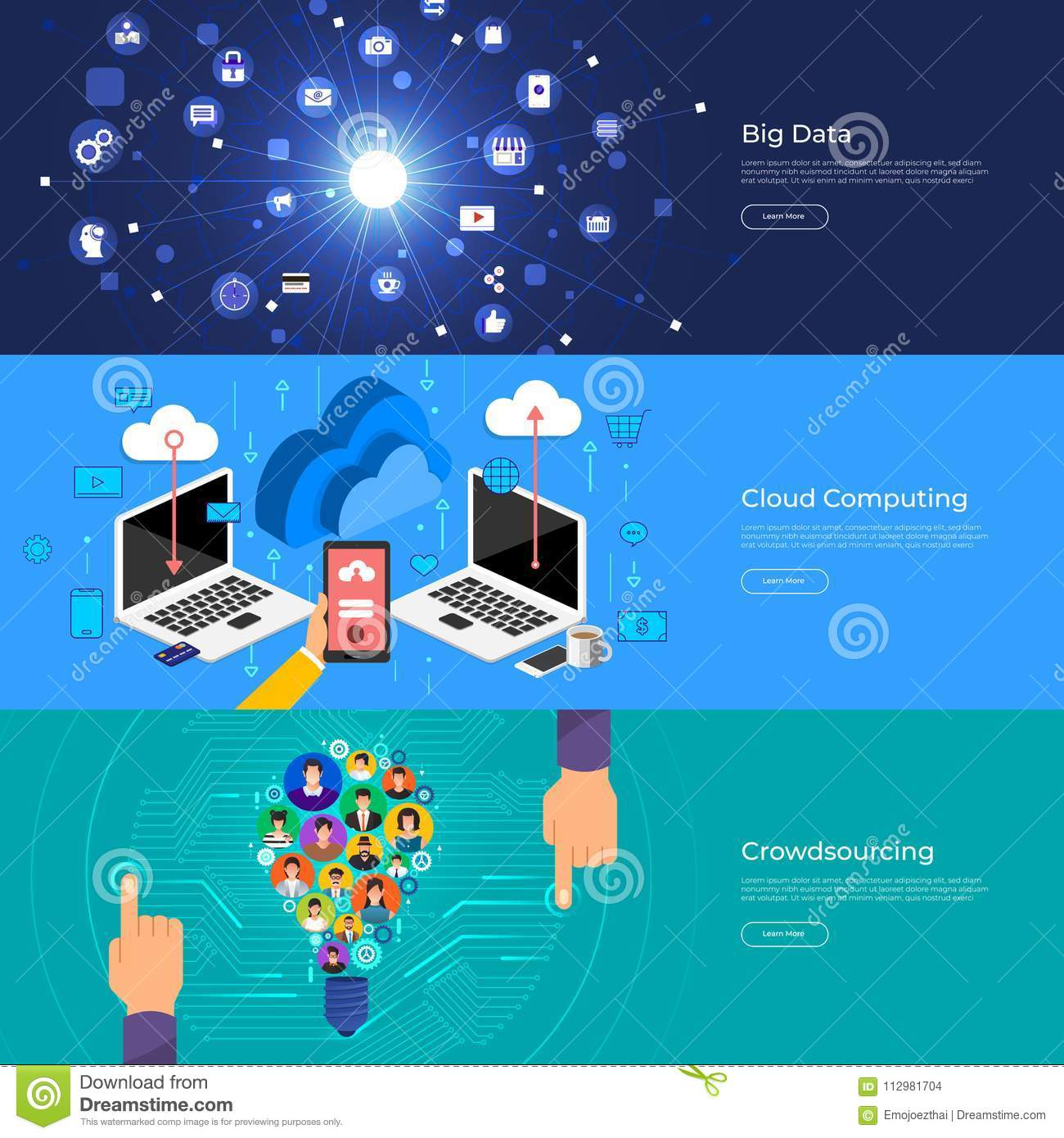Flat design concept big data, cloud computing and crowdsourcing. Vector Illustrate.