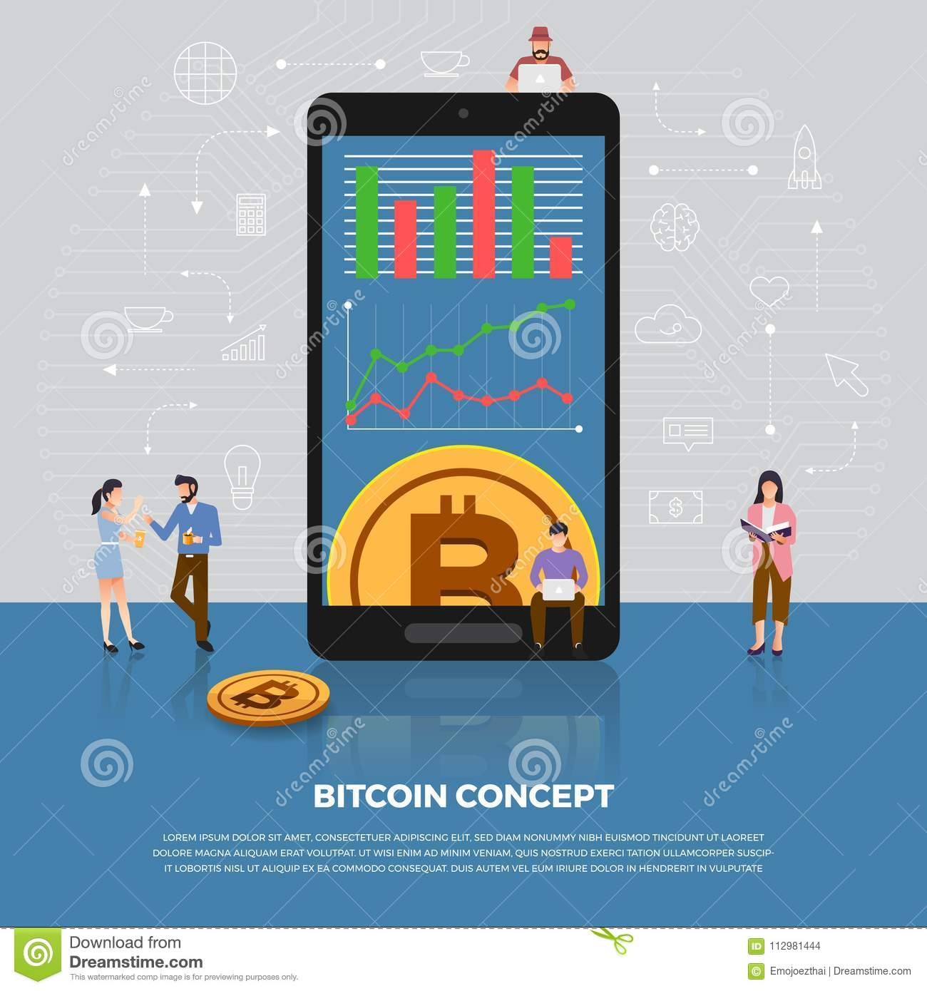 Flat design concept bitcoin cryptocurrency. Group people develo