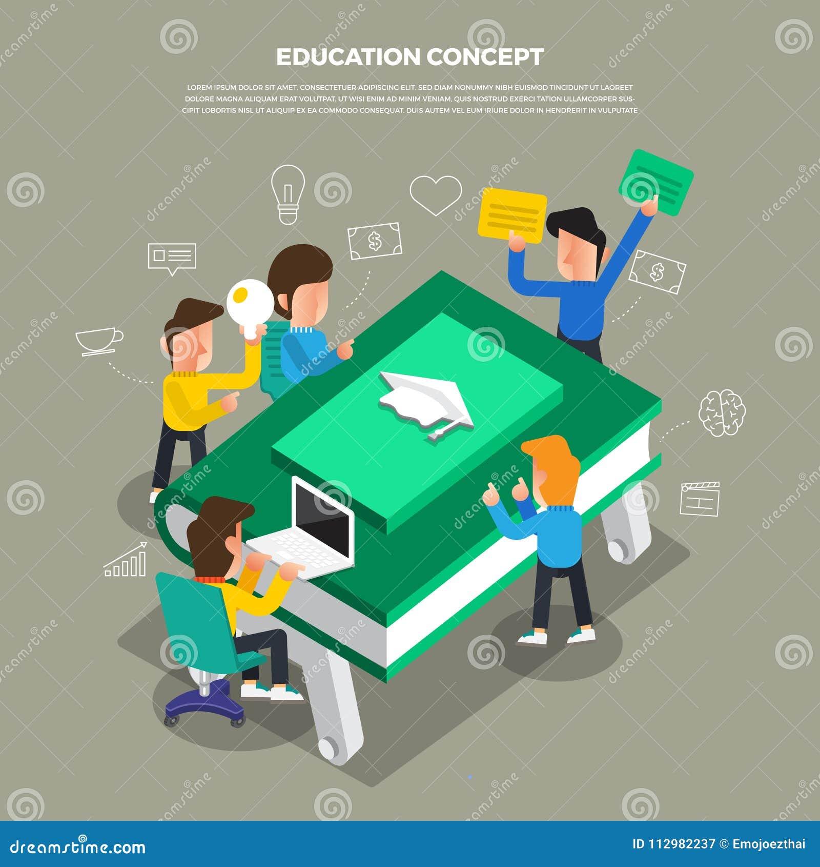 "Flat design concept brainstorm working on desktop icon ""Education"". Vector illustrate."