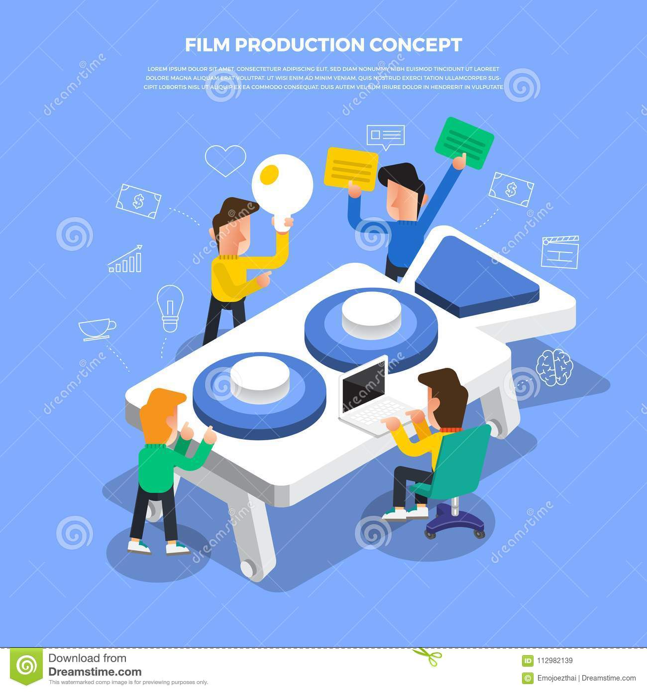 "Flat design concept brainstorm working on desktop icon ""Film P"
