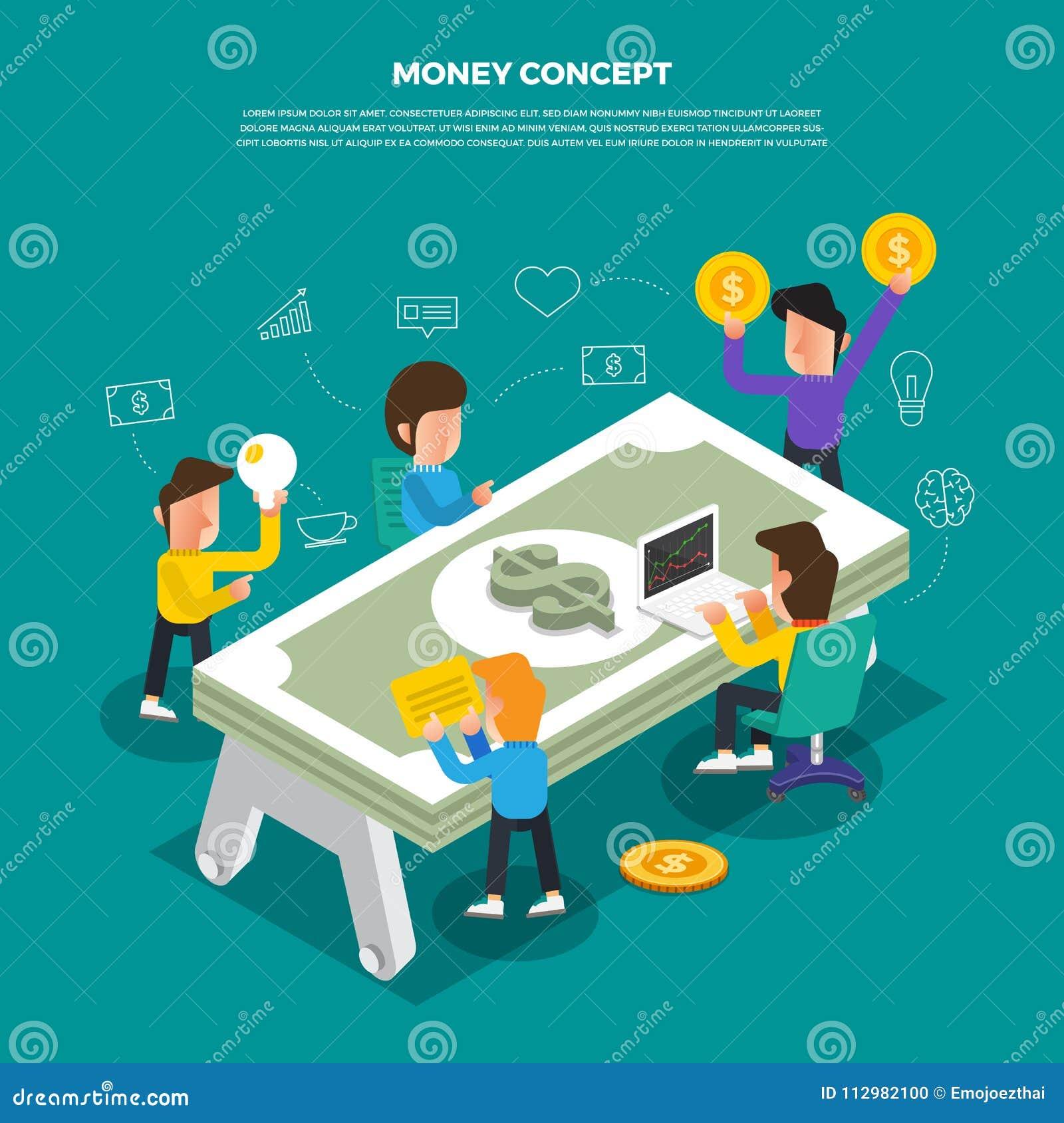 "Flat design concept brainstorm working on desktop icon ""Money"