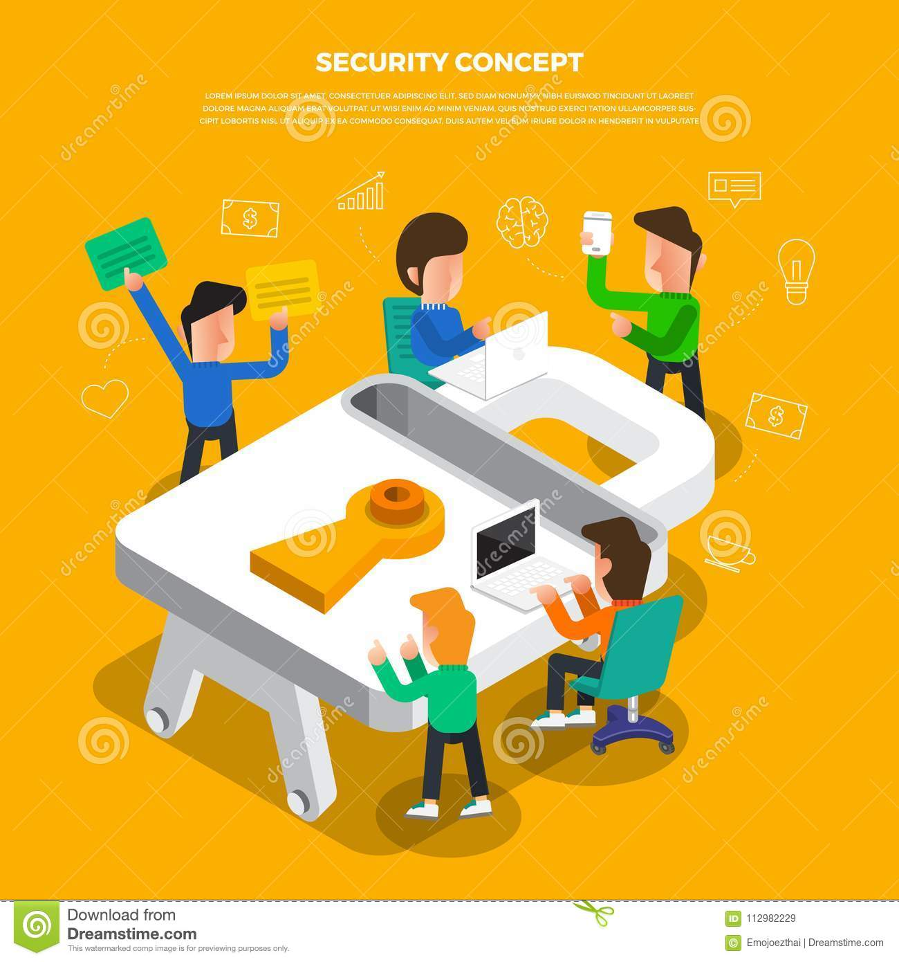 "Flat design concept brainstorm working on desktop icon ""Security"". Vector illustrate."
