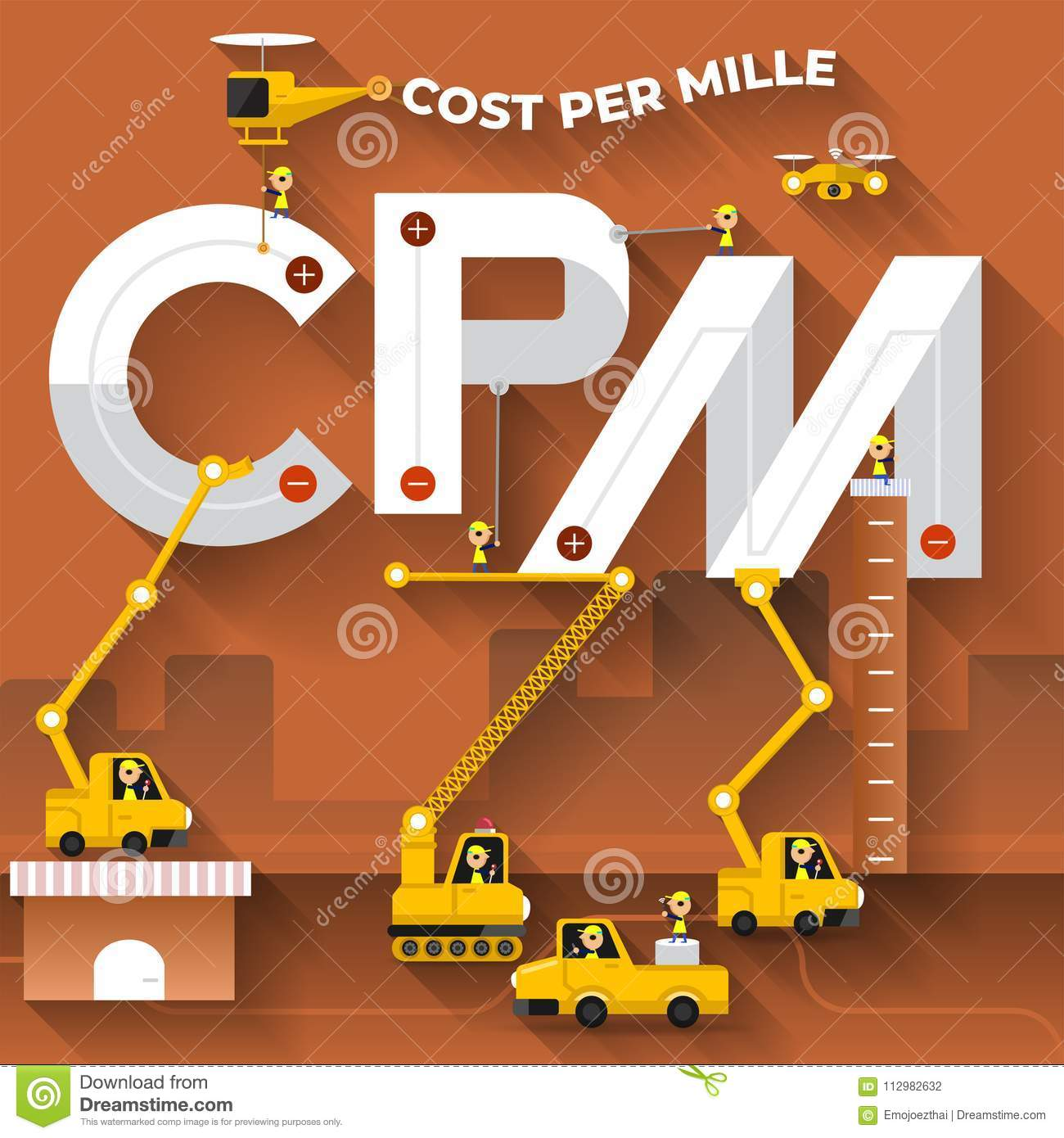 Flat design concept building text CPM with construction team. Vector illustrate.