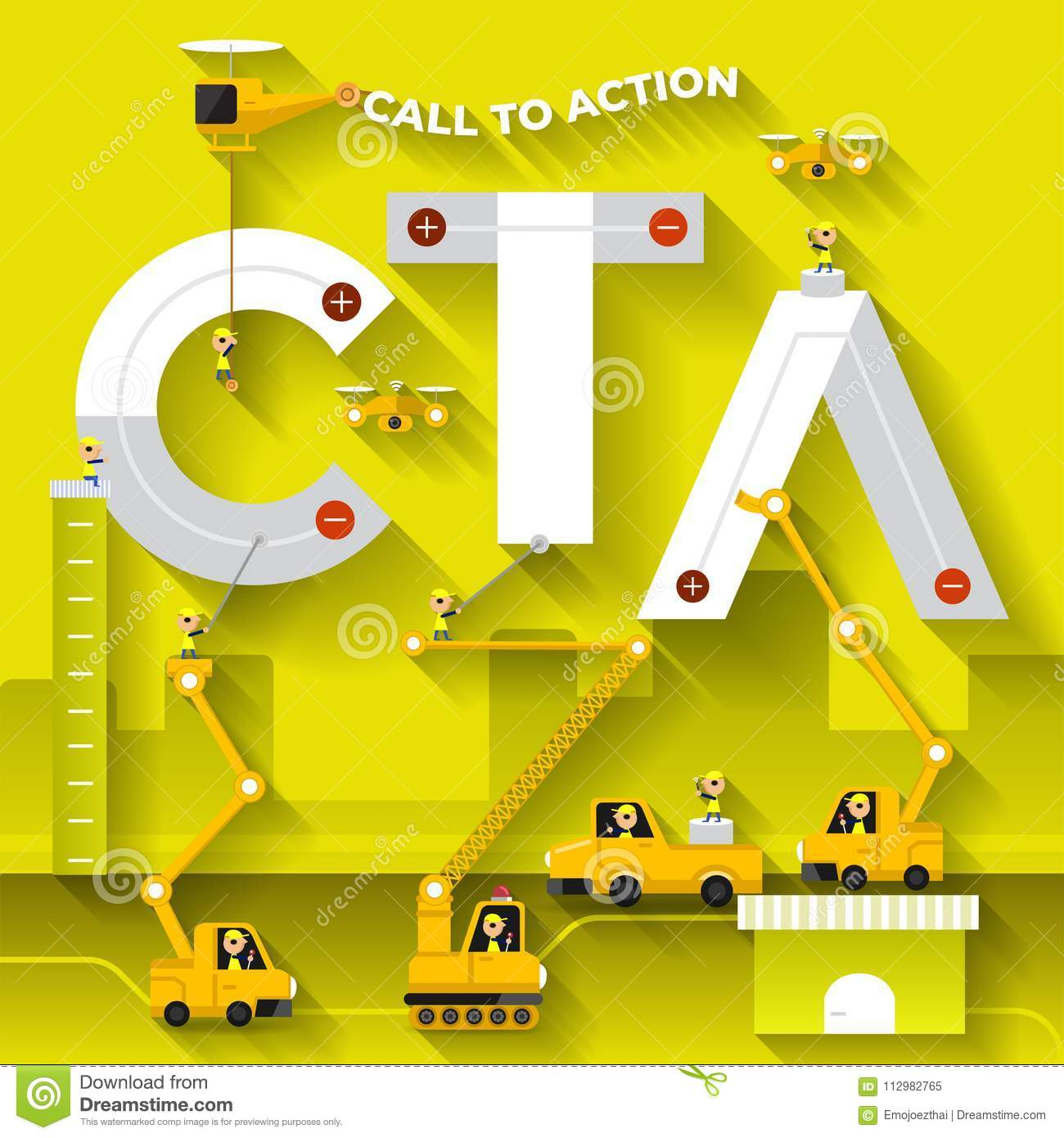 Flat design concept building text CTA with construction team. Vector illustrate.
