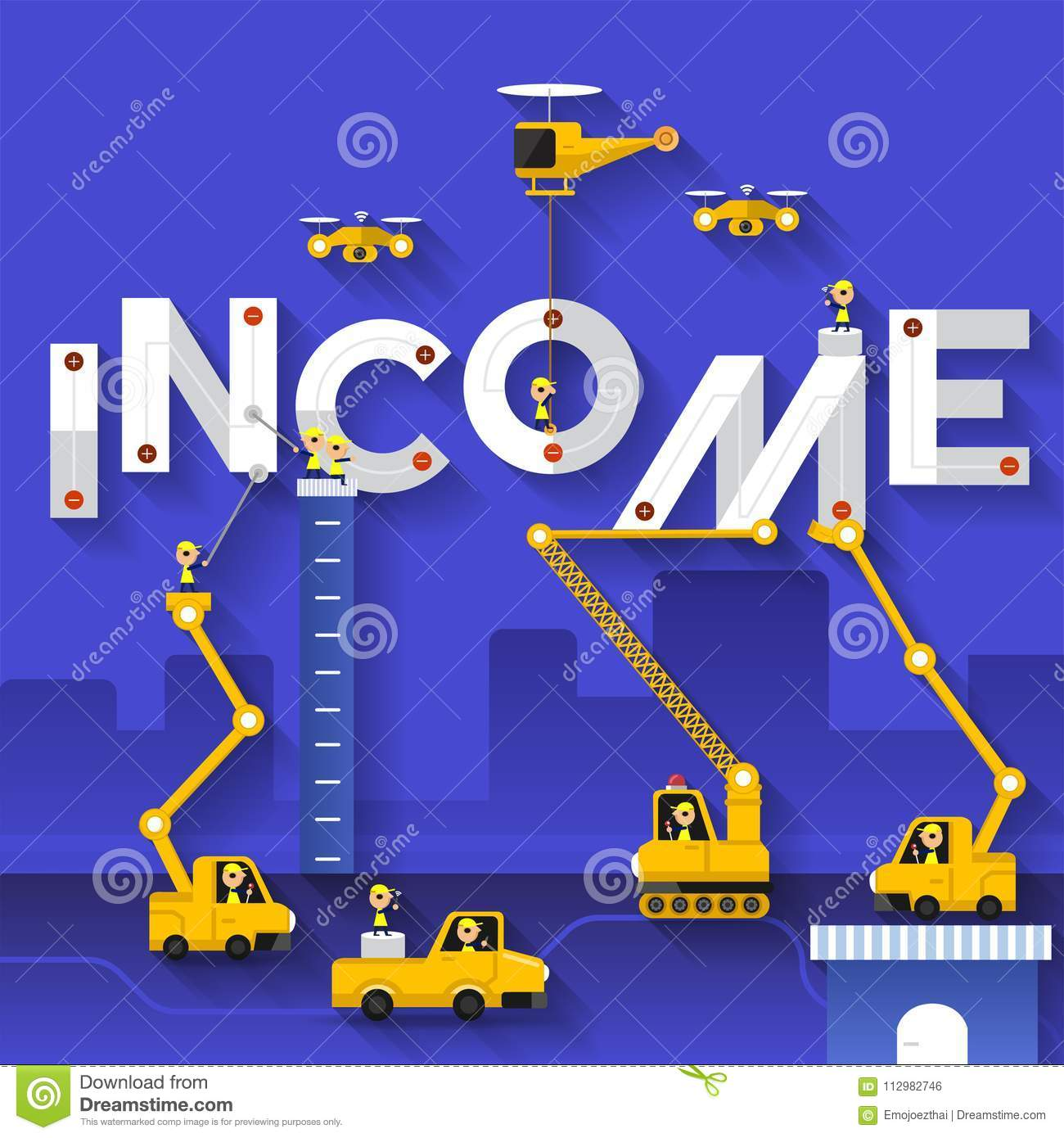 Flat design concept building text income with construction team. Vector illustrate.