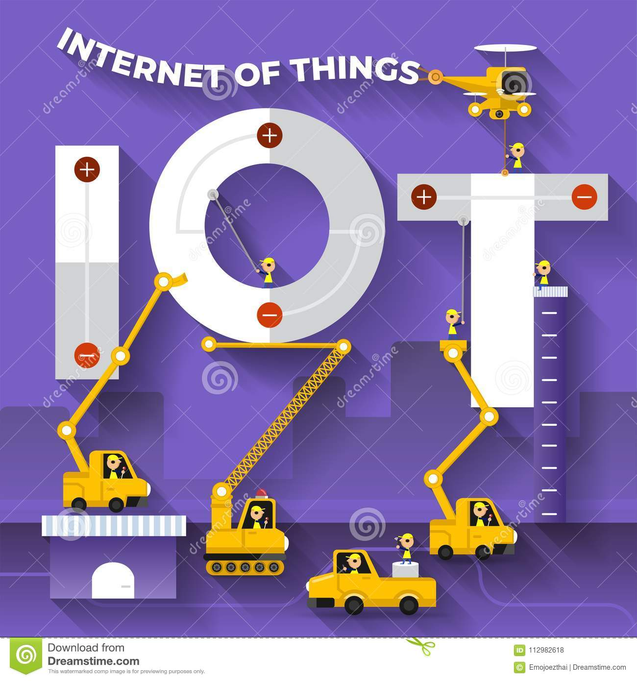 Flat design concept building text IOT with construction team. Vector illustrate.