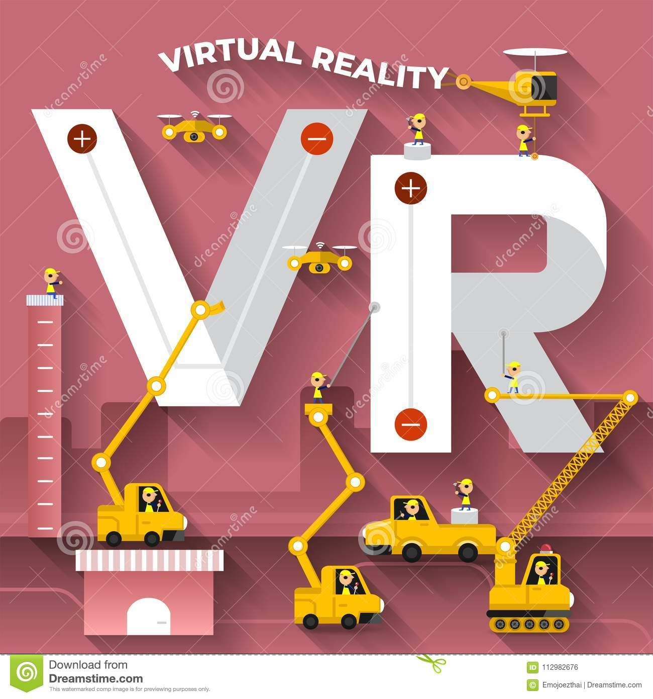 Flat design concept building text VR with construction team. Vector illustrate.