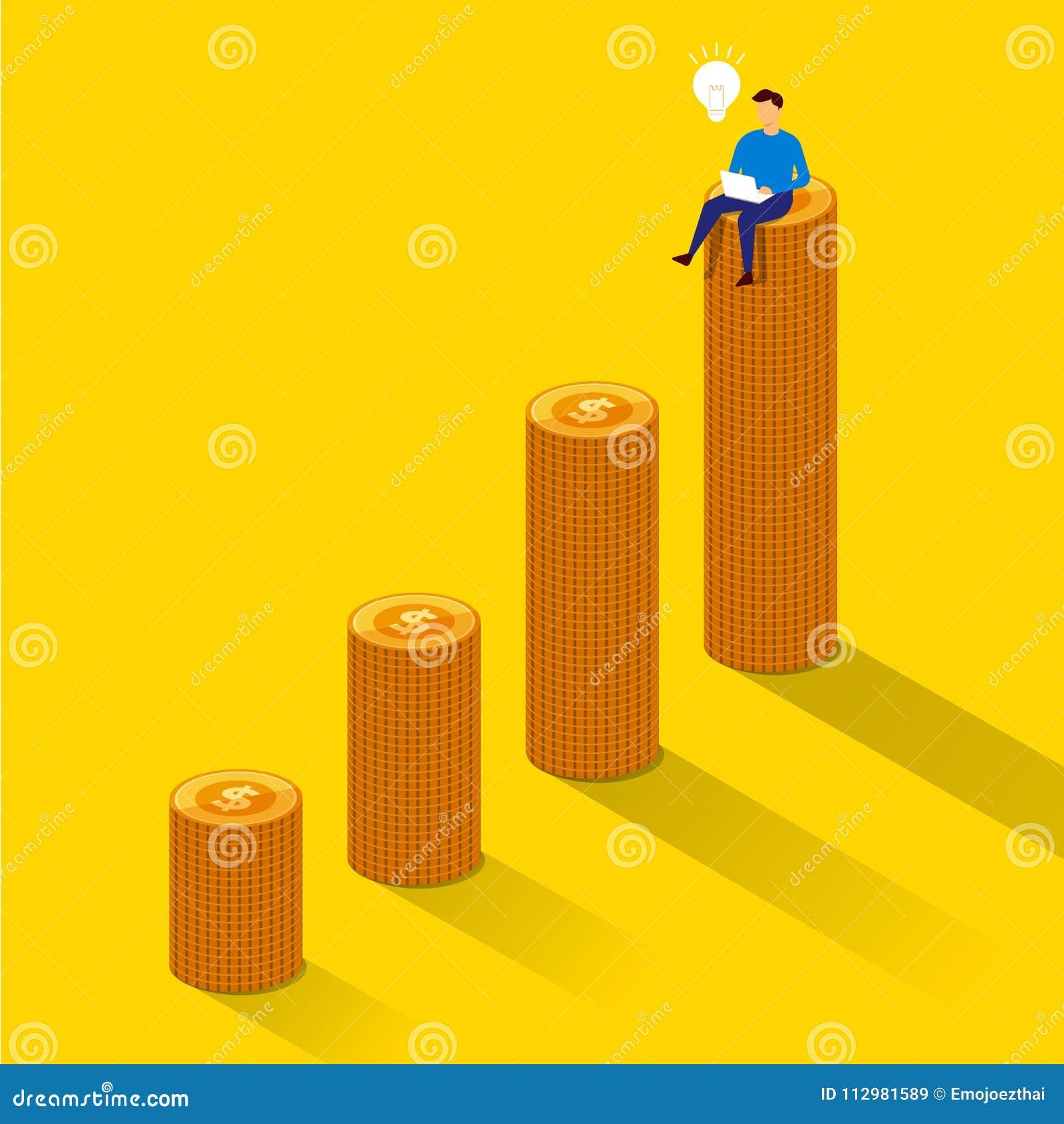 Flat design concept businessman success sit on money growth. Vector illustrate.
