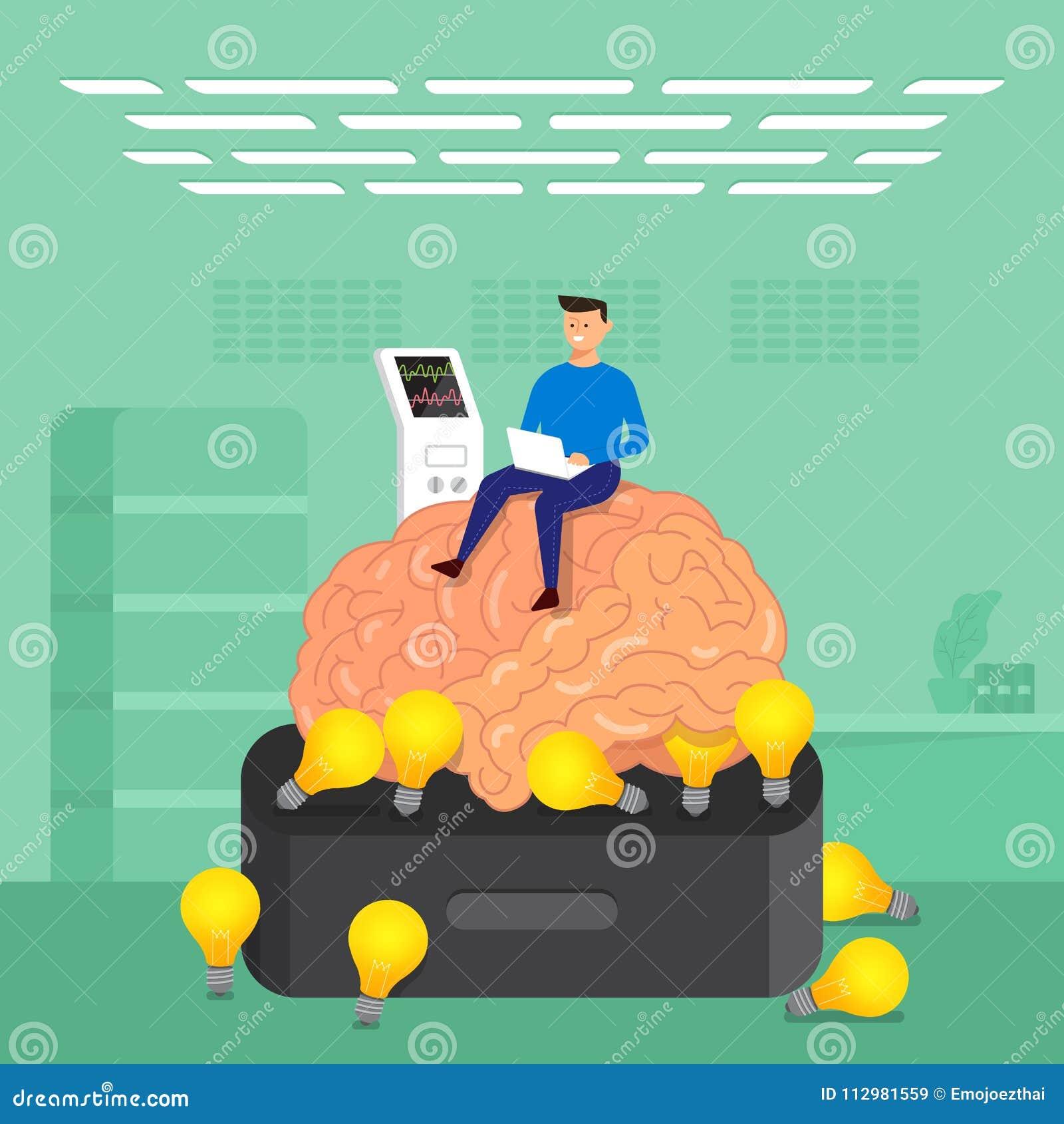Flat design concept businessman training brain in labs. Vector i