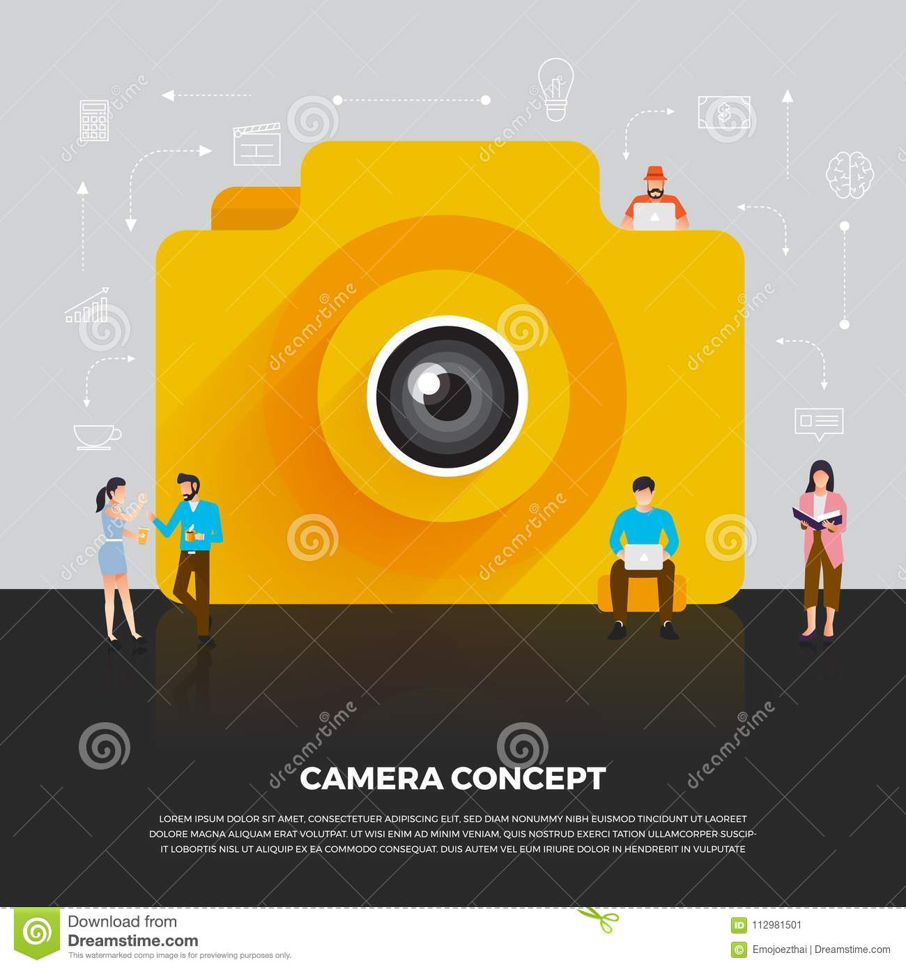 Flat design concept camera mobile. Group people develop icon cam