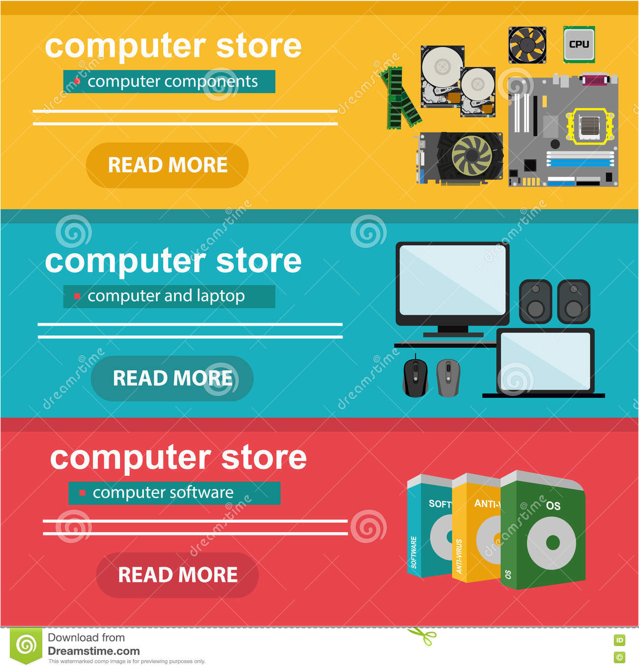 Flat Design Concept Of Computer Store, Sale Of Computers