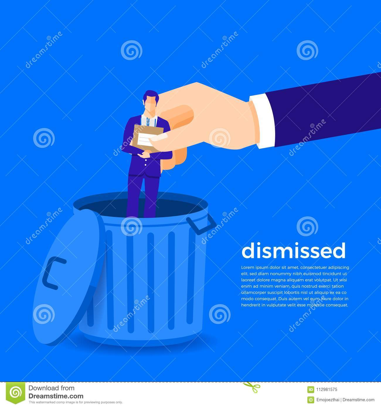 Flat design concept dimissed businessman. Vectir illustrate.