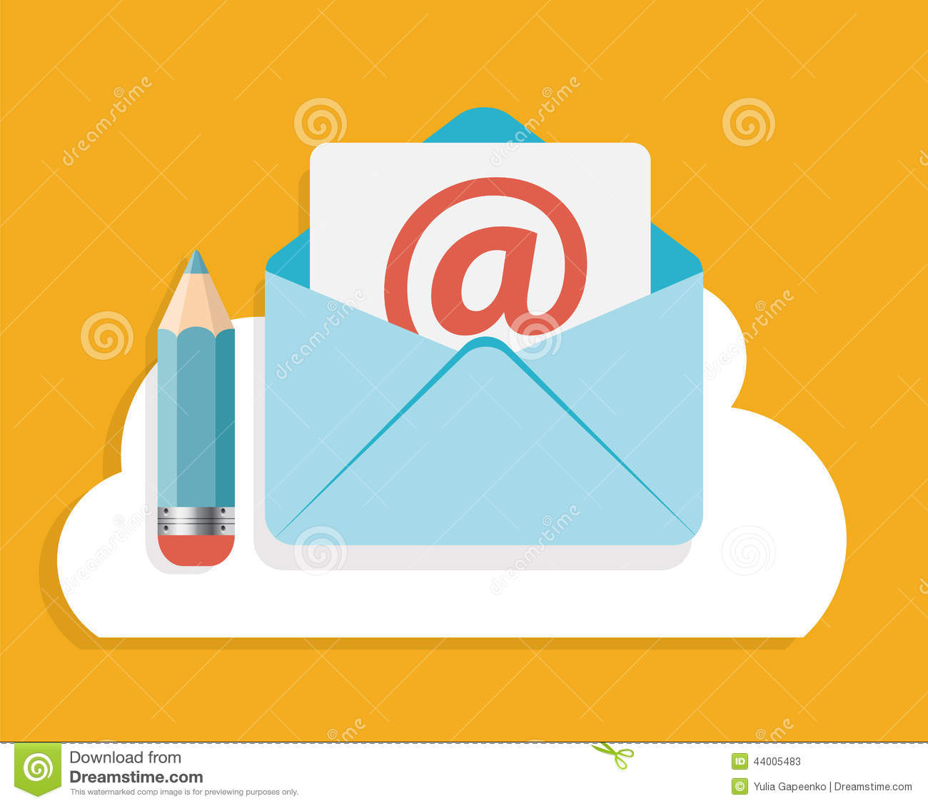Flat Design Concept Email Write Icon Vector Stock Vector