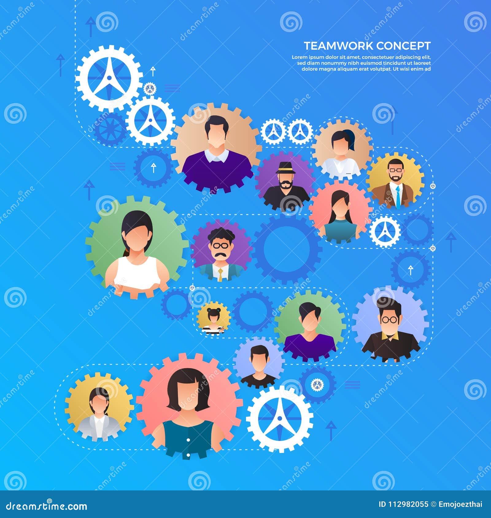 Flat design concept hands teamwork building success business work together. Vector illustrate.