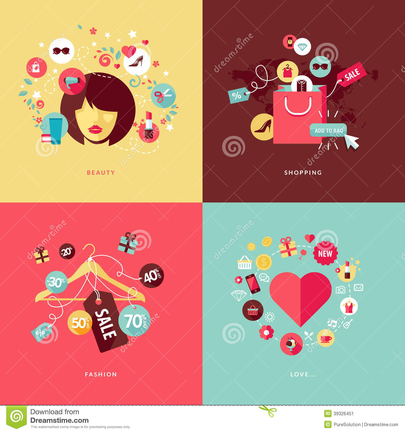 Download Flat Design Concept Icons For Beauty And Shopping Stock Vector - Illustration of heart, icon: 39326451