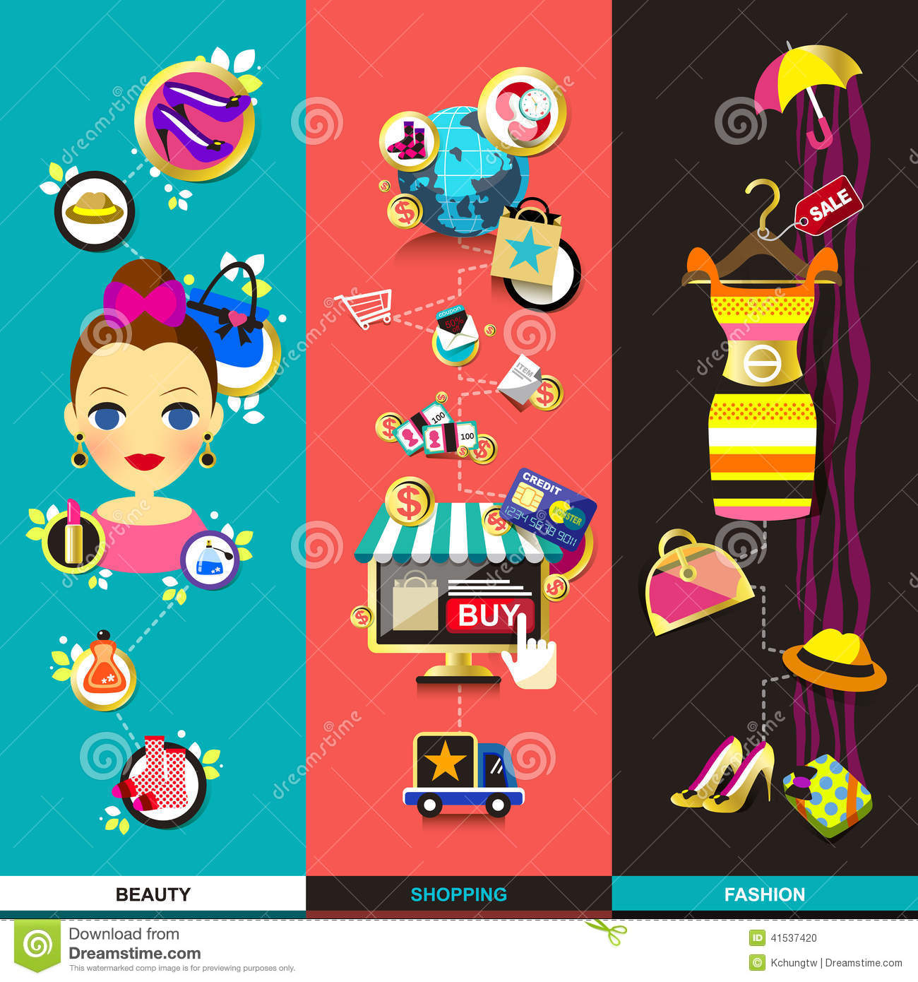 Shopping And Beauty Set In Flat Design Vector Illustration