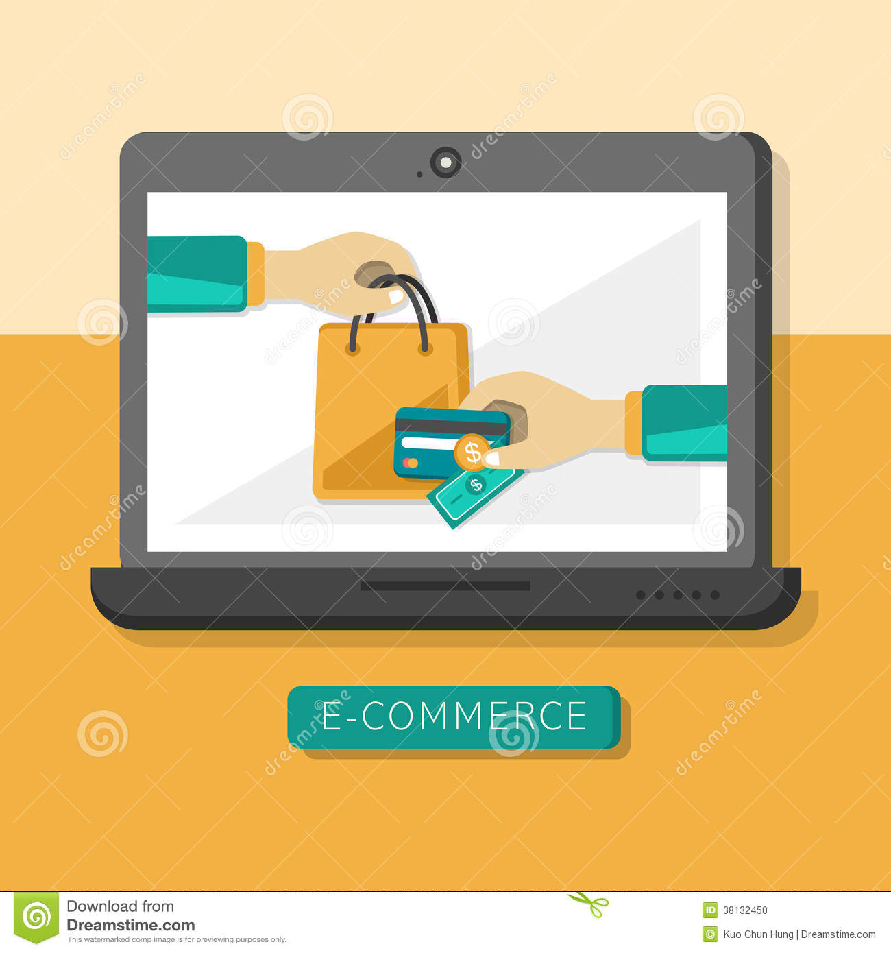 Flat design concept with icons of e commerce ideas symbol for Design on line outlet
