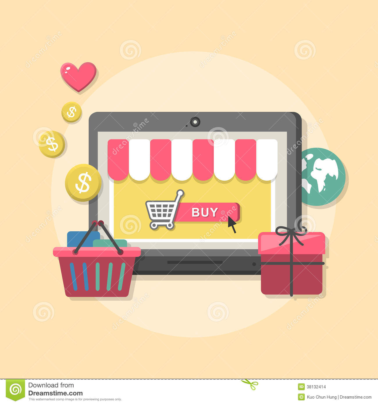 Flat design concept with icons of online shop ideas symbol for Online store for shopping