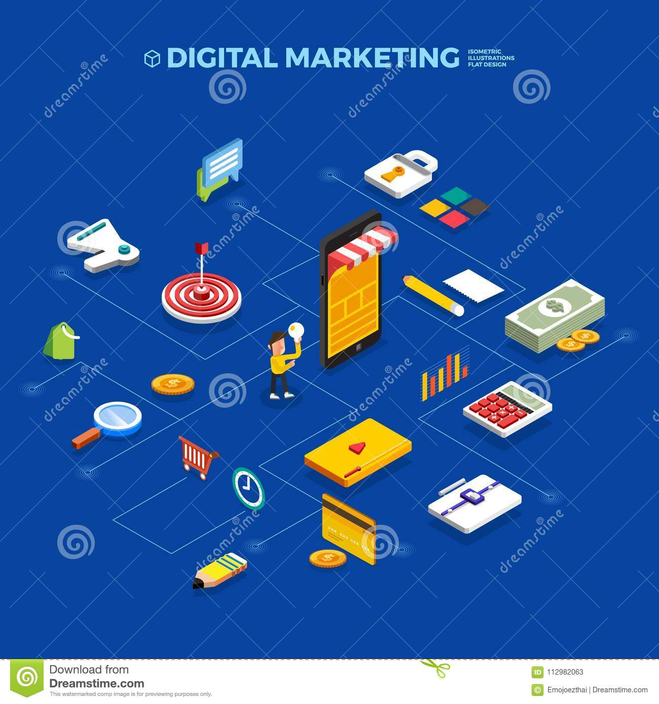 Flat design concept isometric digital marketing object. Vector i