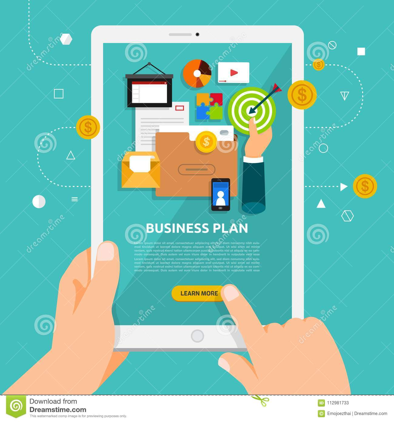 Flat design concept learnning about business online with hand ho