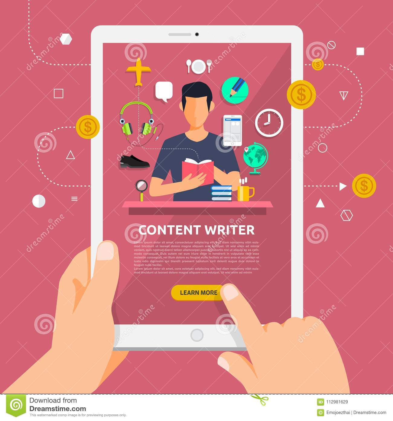 Flat design concept learnning about content writing online with