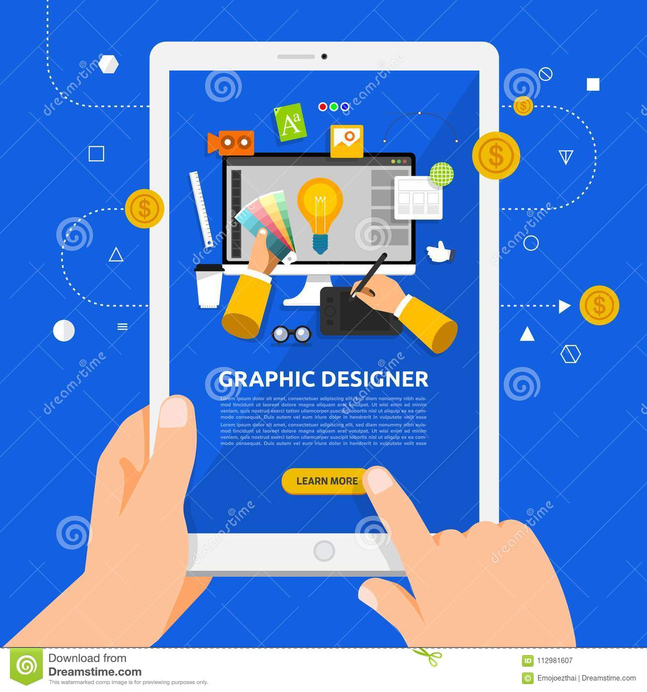 Flat design concept learnning about graphic desig online with ha