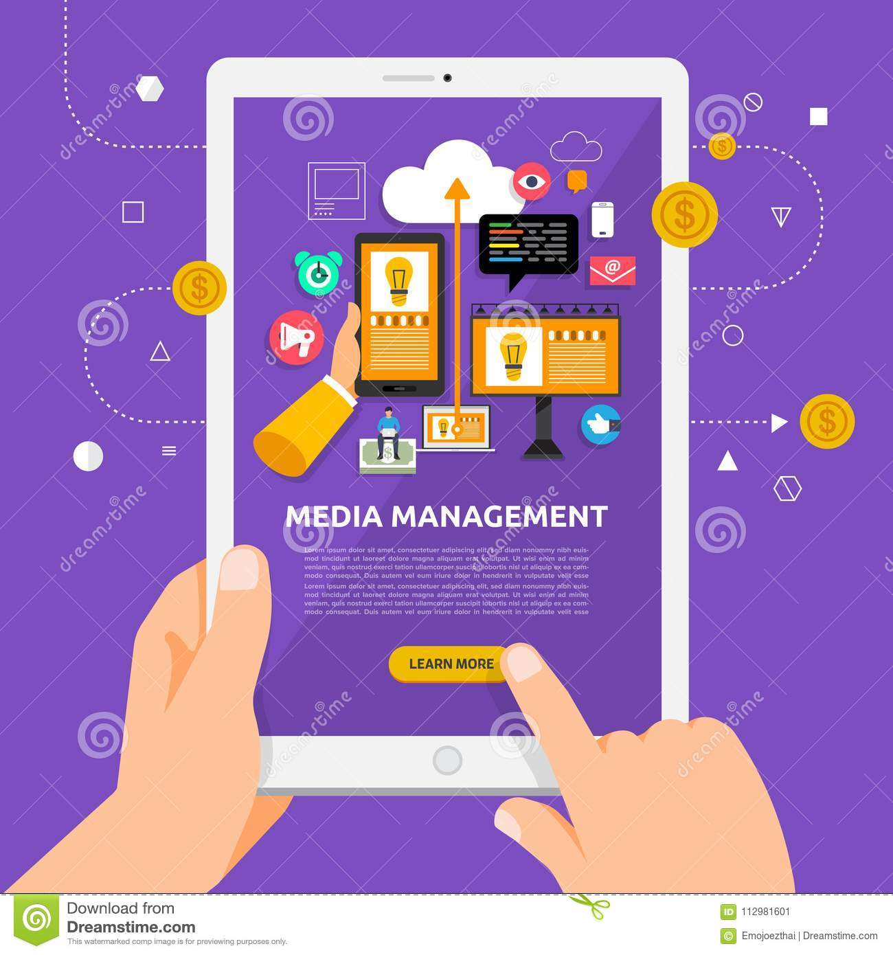Flat design concept learnning about media management online with