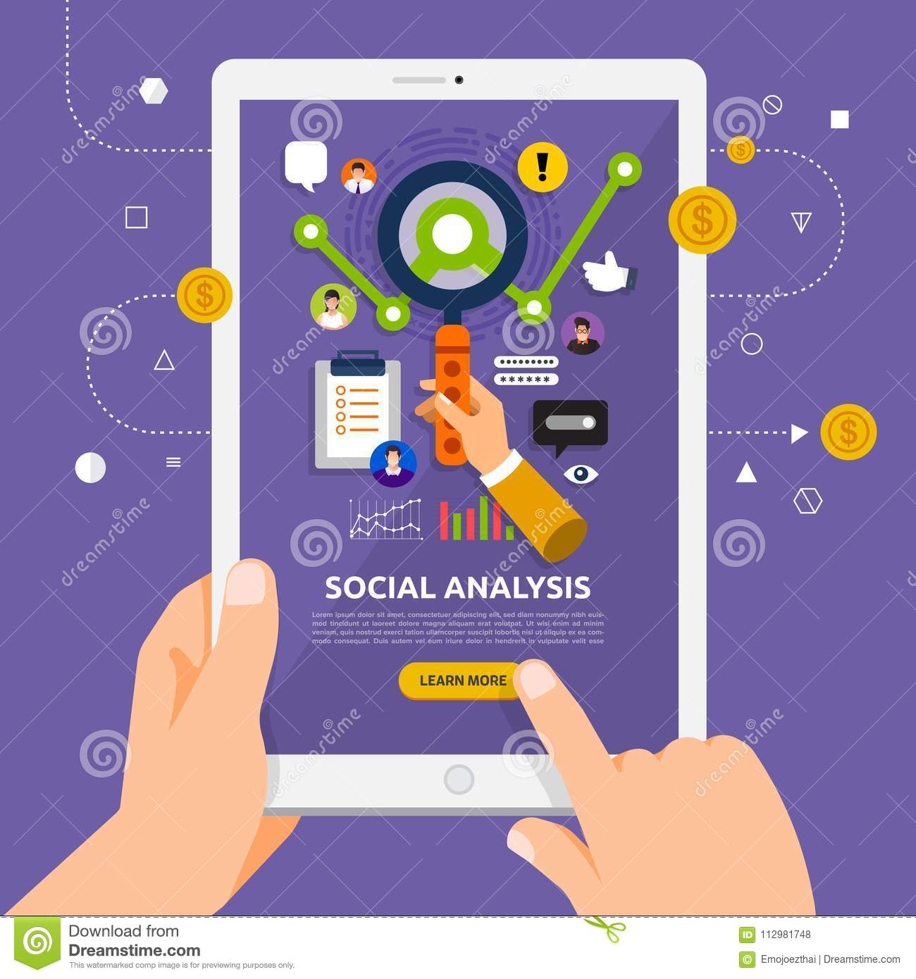 Flat design concept learnning about social analysis online with