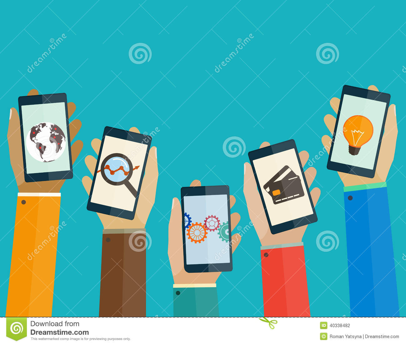 Flat design concept mobile apps phones in hands of the people