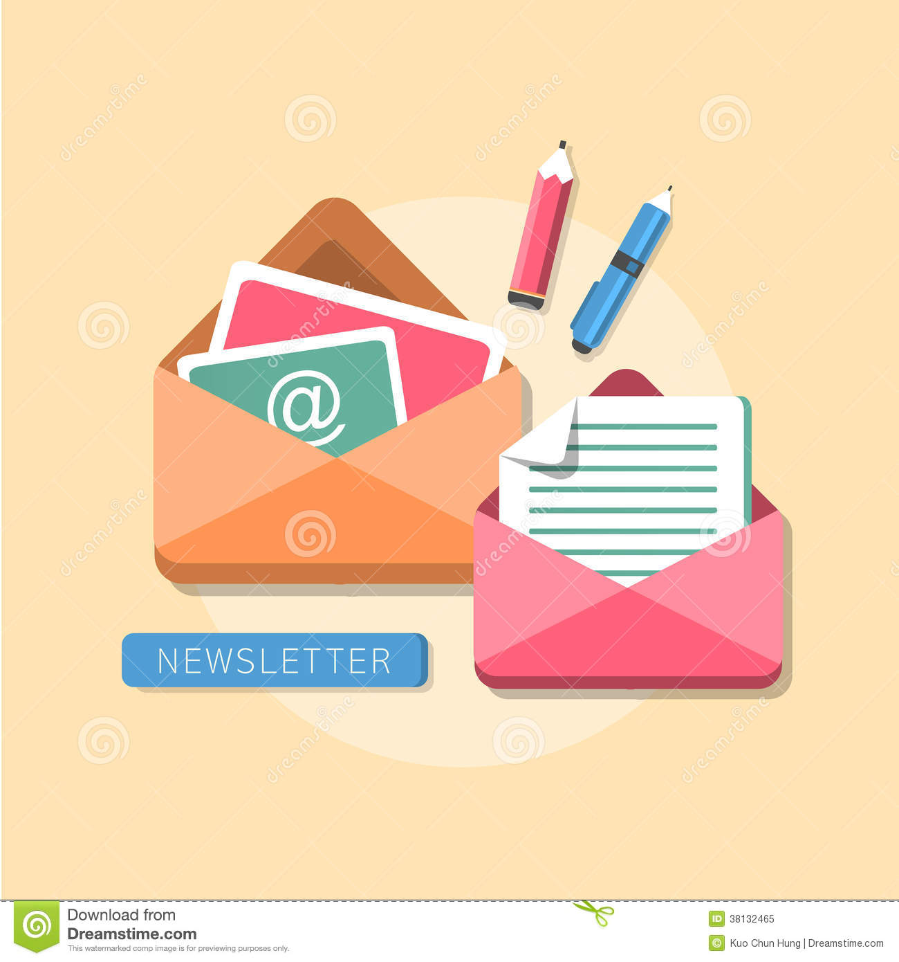 Flat Design Concept Of Newsletter Royalty Free Stock Photo