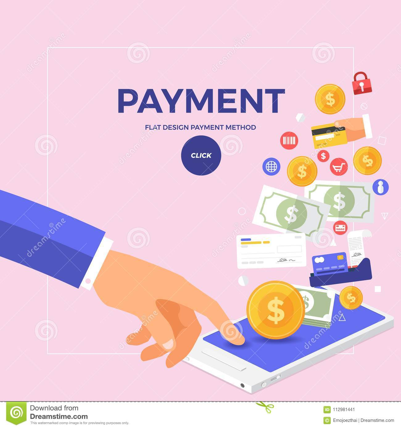Flat design concept online payment with click on mobile. Vector