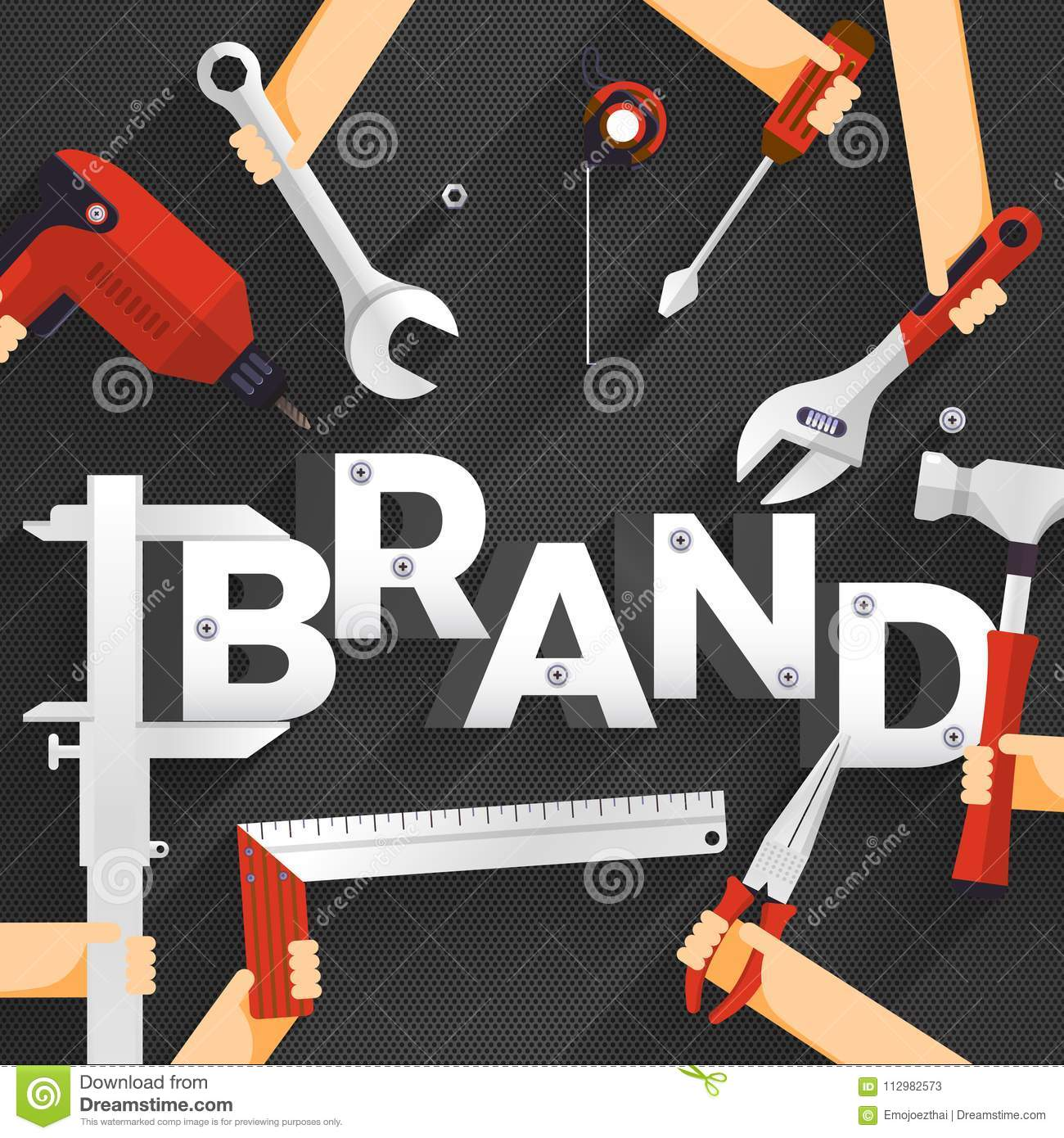 Flat design concept people working for building text BRAND. Vector illustration.