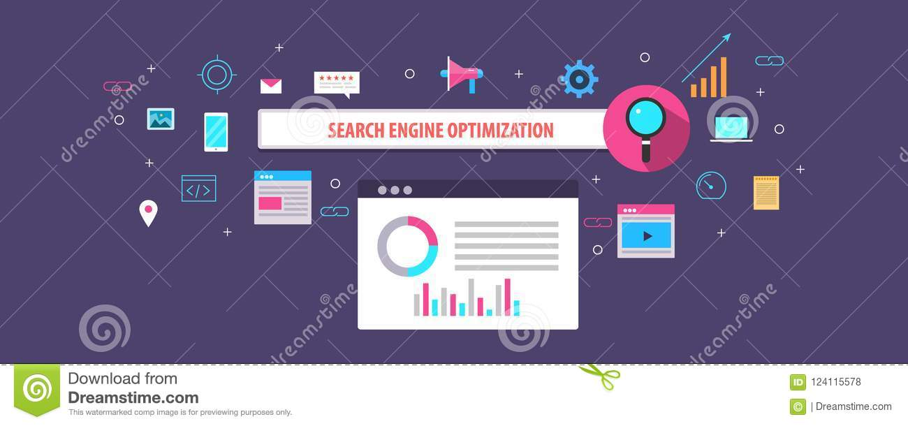Flat design concept of search engine optimization, seo, search ranking and visibility on web.