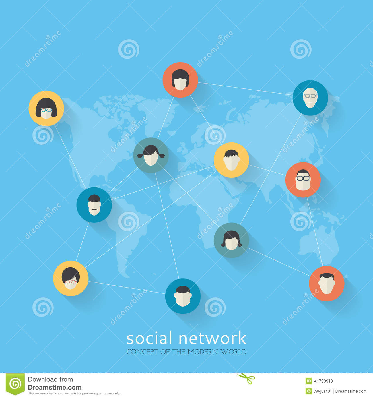 Flat Design Concept Of Social Network Stock Vector Image