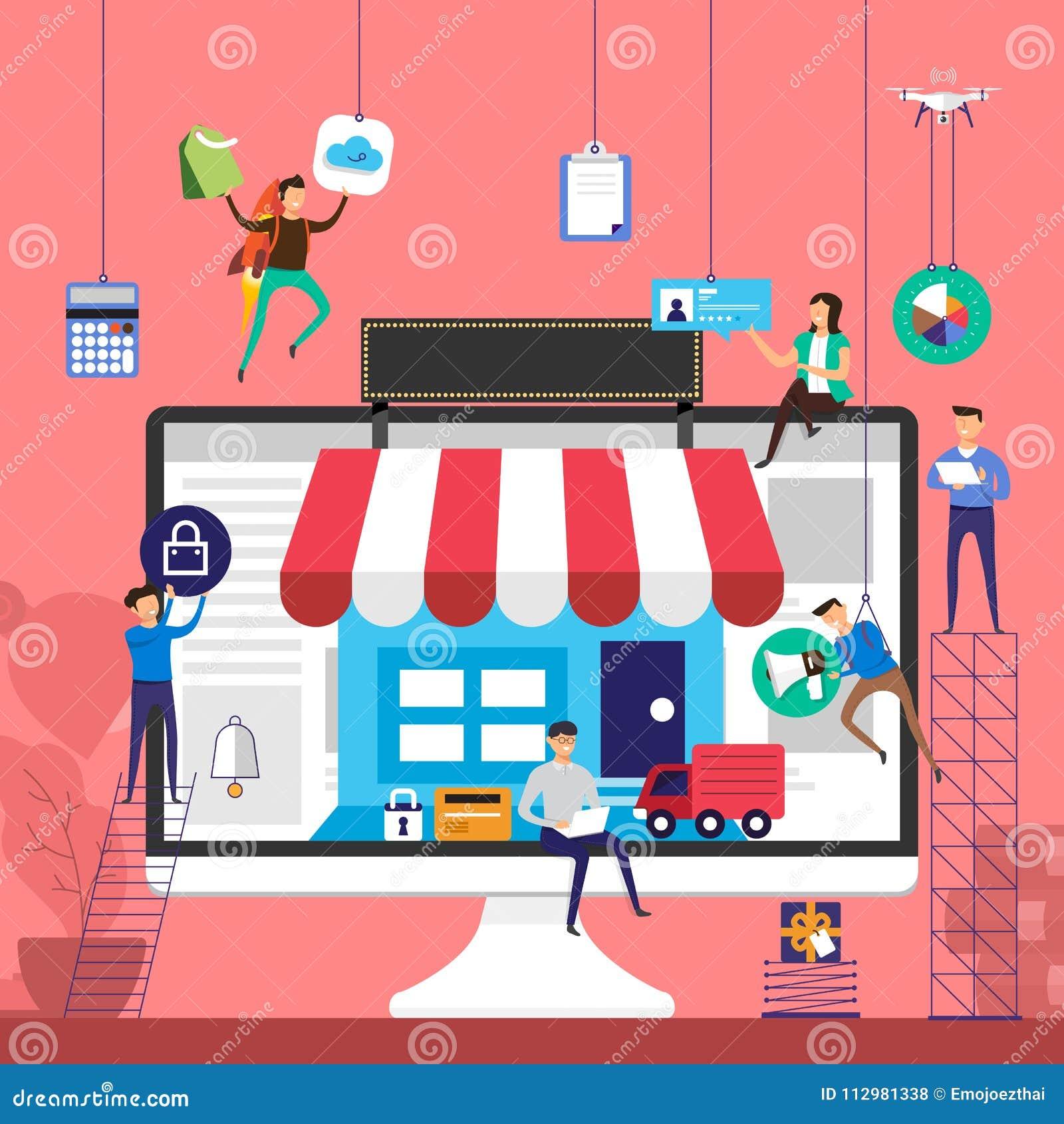 Flat design concept team working for online store e-commerce technology on desktop. Vector illustrate.