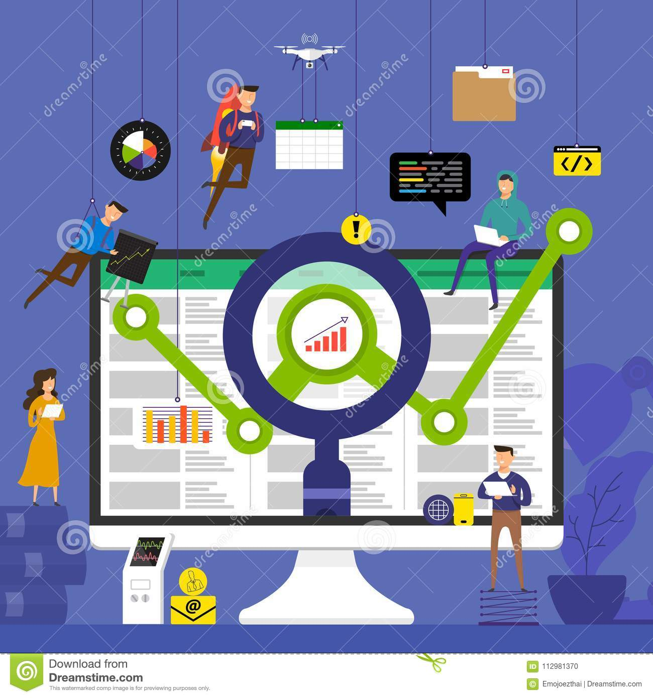 Flat design concept team working for technology analysis data on