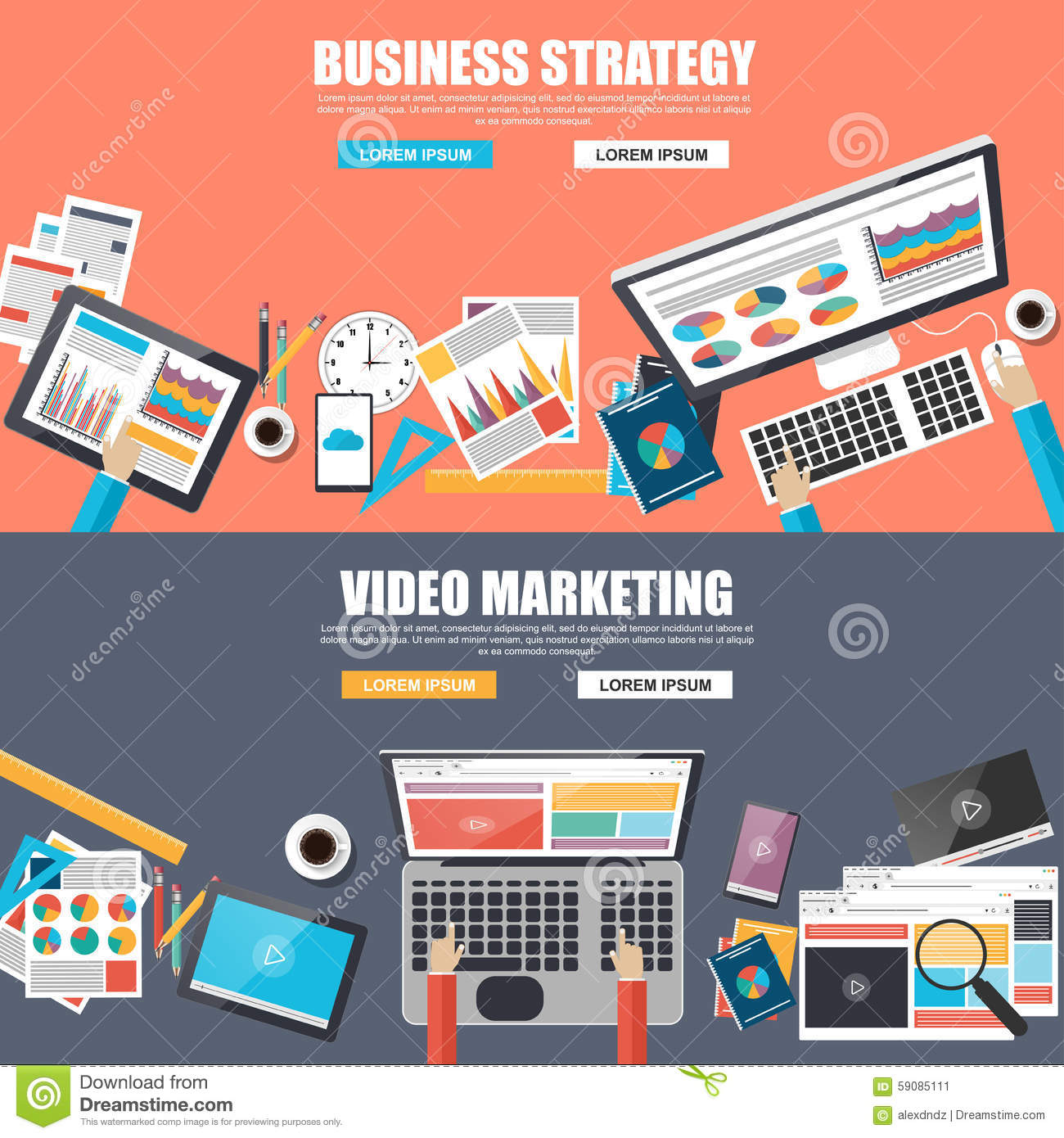 Flat Design Concepts For Business Strategy And Video