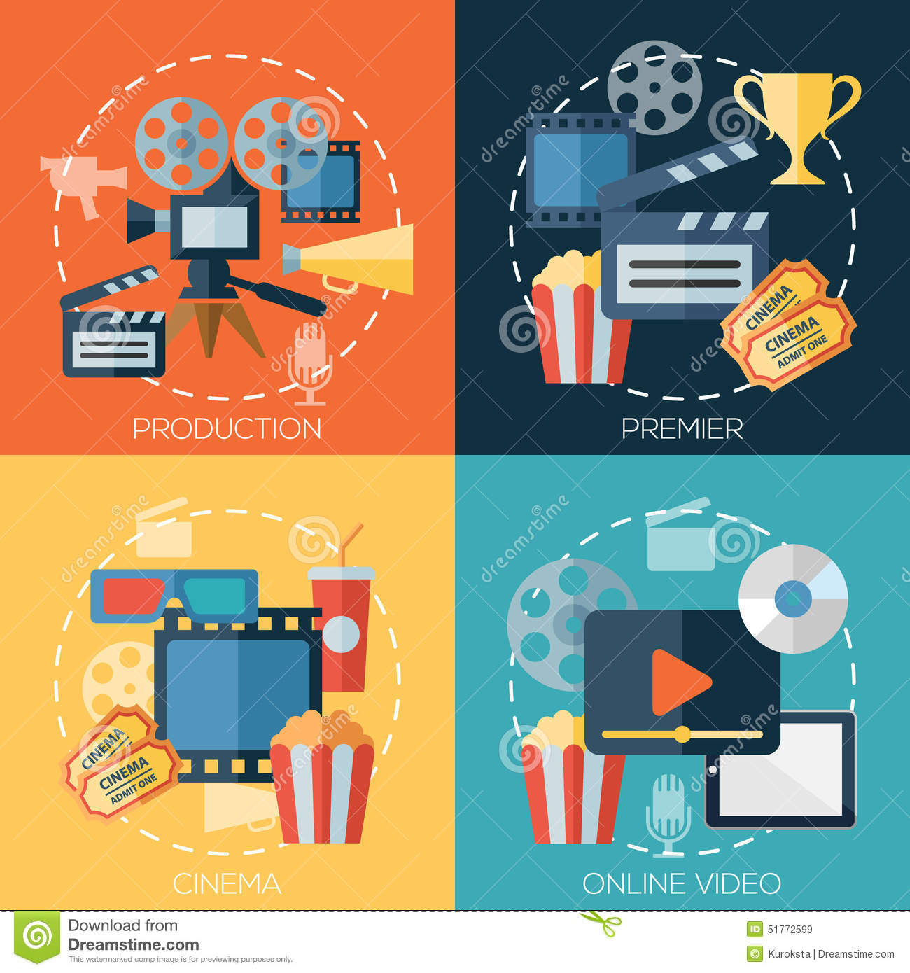 Flat Design Concepts For Cinema, Movie Production Stock ...