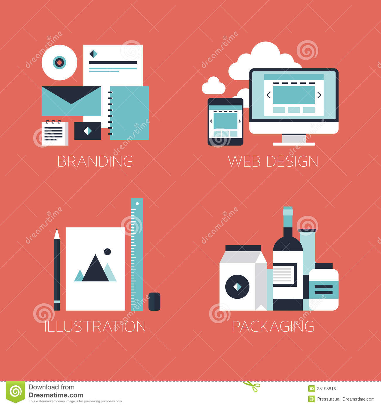 Vector Illustration Web Designs: Flat Design Corporate Style Icons Royalty Free Stock Image