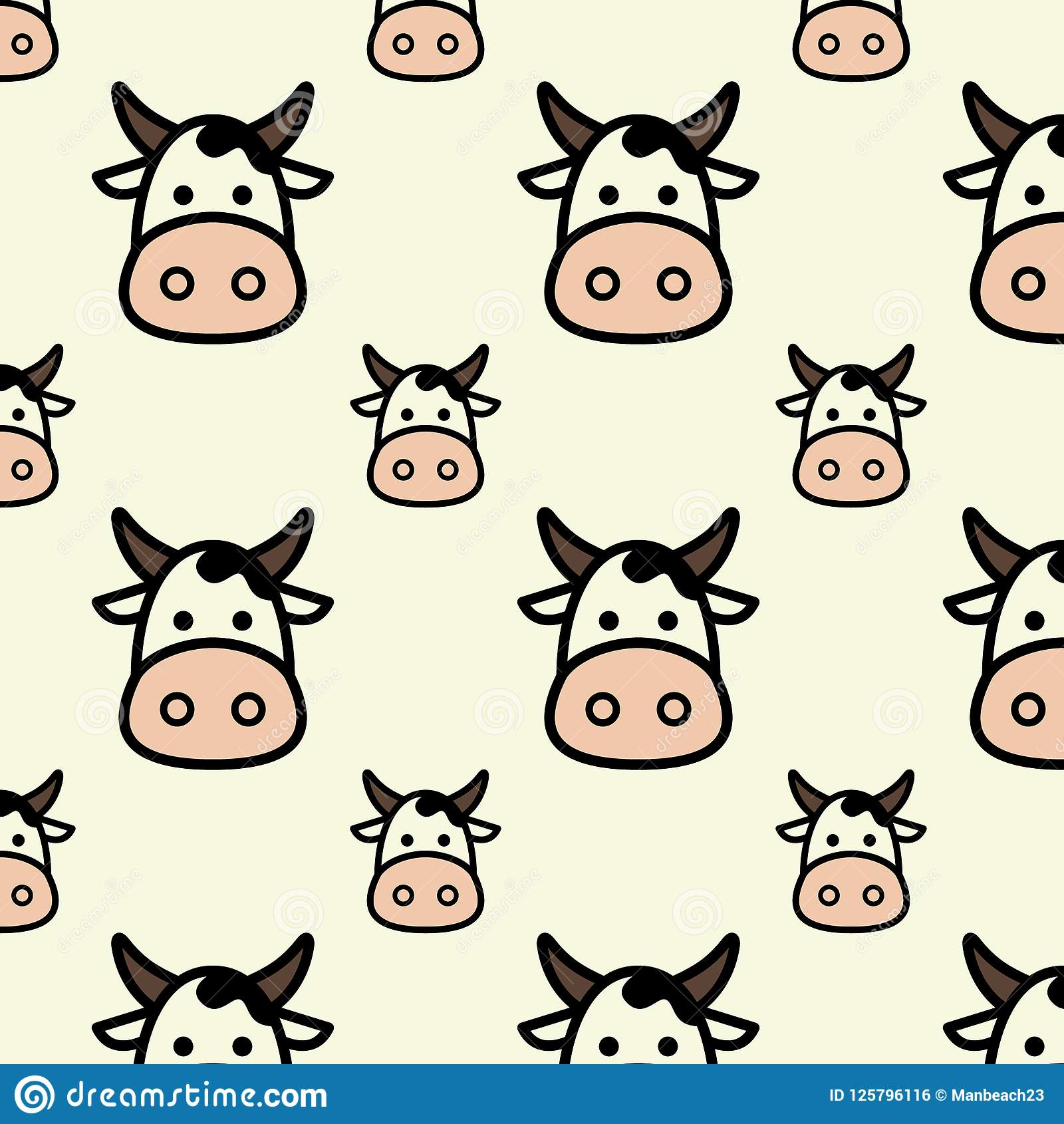 Flat Design Cute Head Cow Cartoon Seamless Pattern For Background And Wallpaper Stock Vector Illustration Of Greeting Fortune 125796116