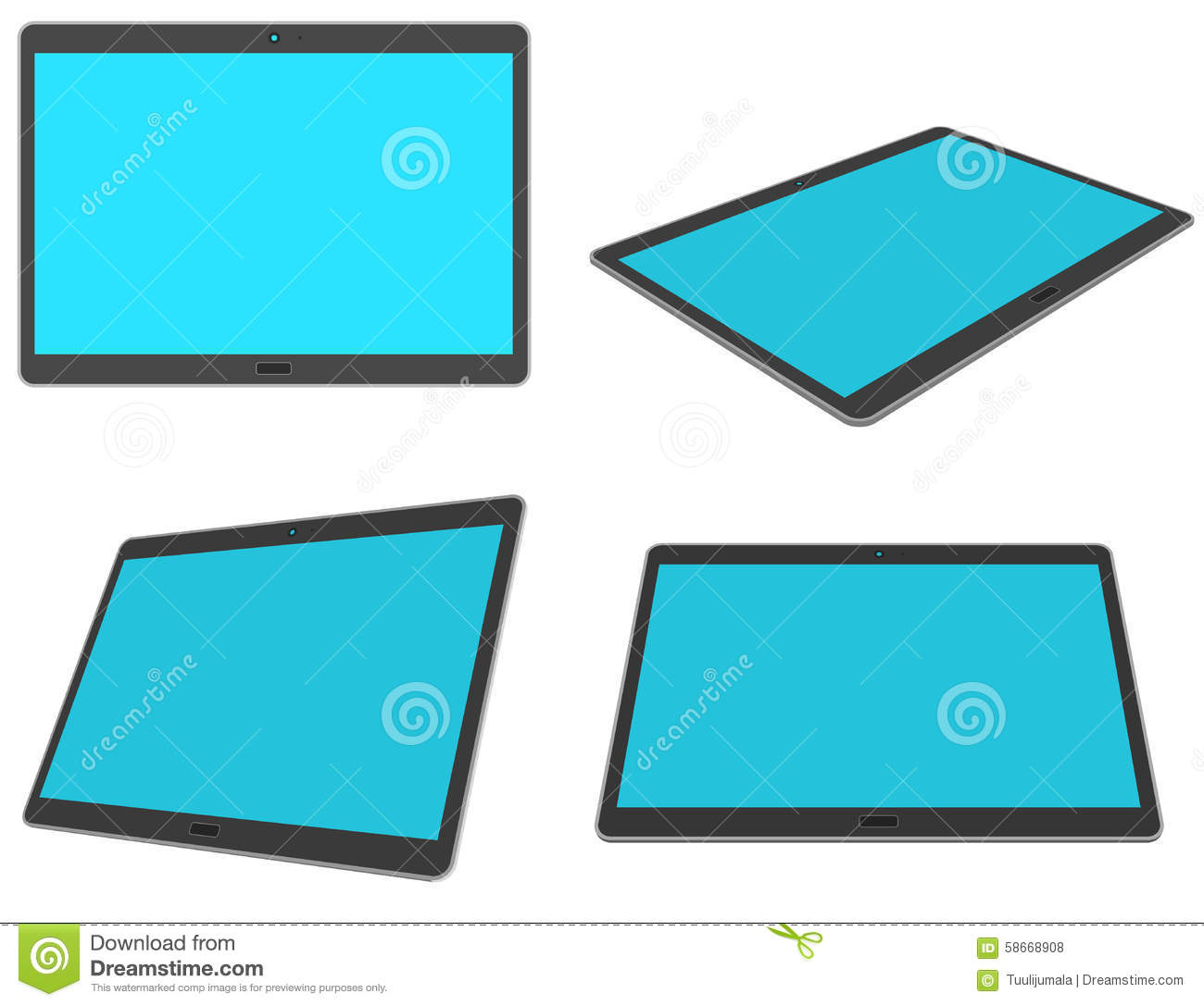 Flat Design 3d Tablet Set Stock Vector Image 58668908
