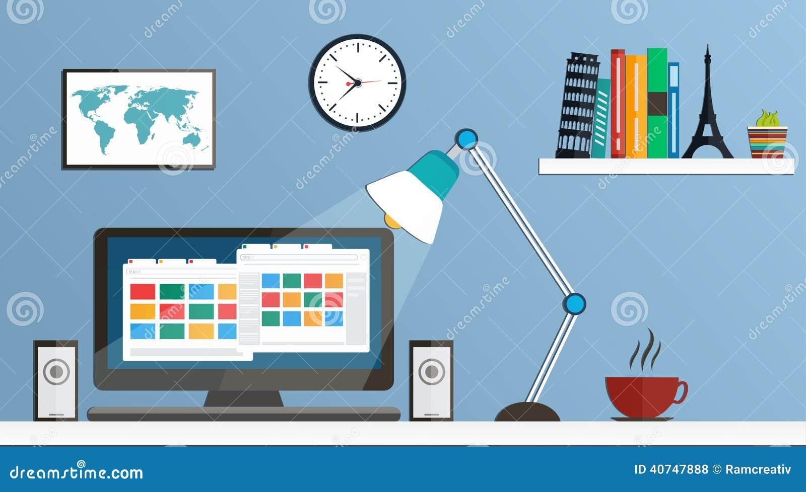 Flat design desktop, workspace