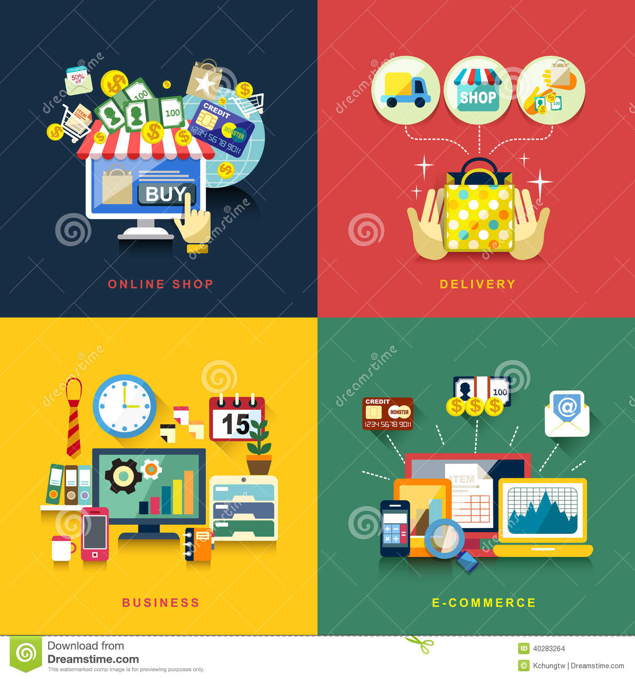 Flat design for e commerce delivery online shopping for Onlineshop design mobel