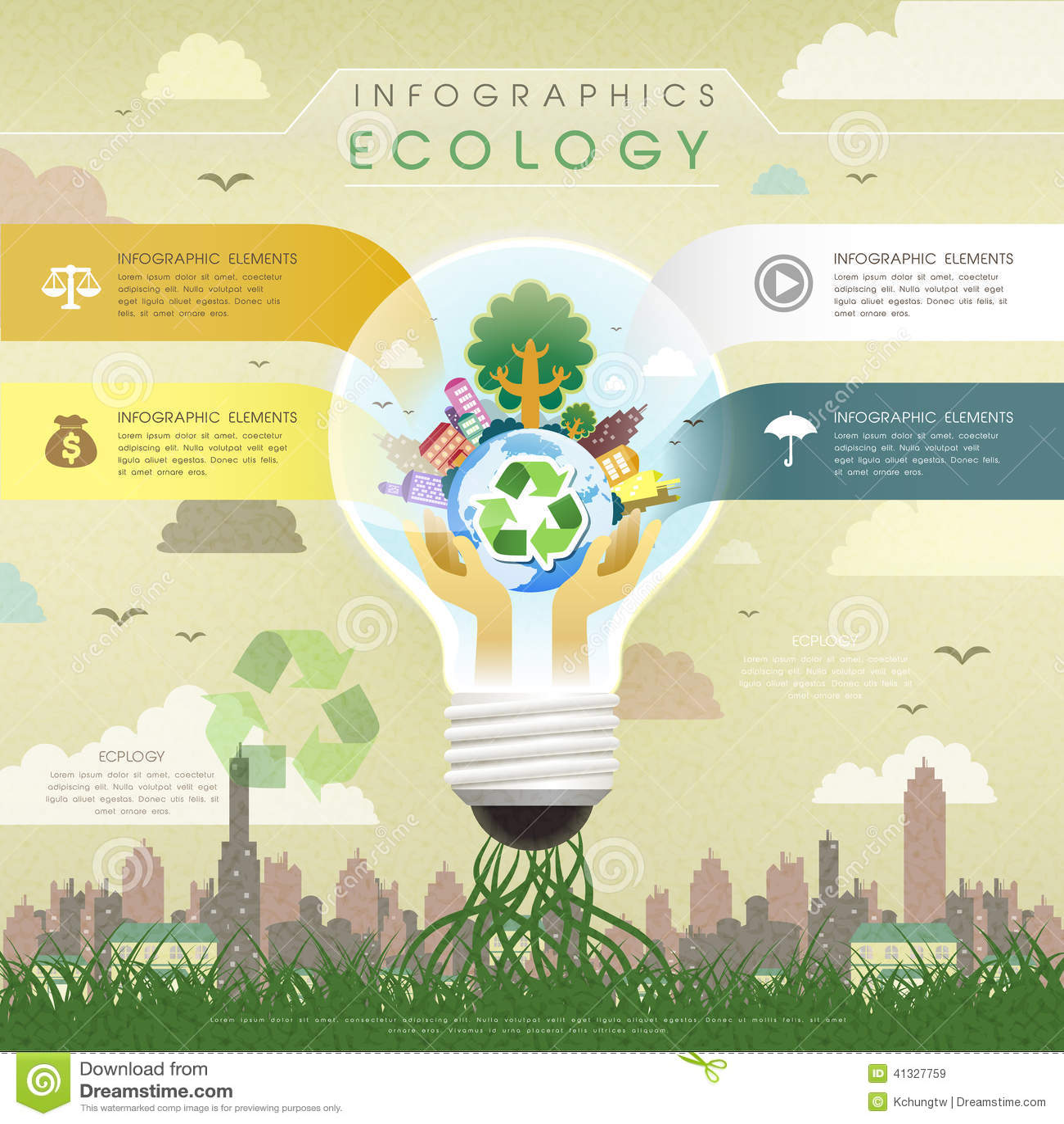 Flat Design Ecology Bulb Infographics Stock Vector Image