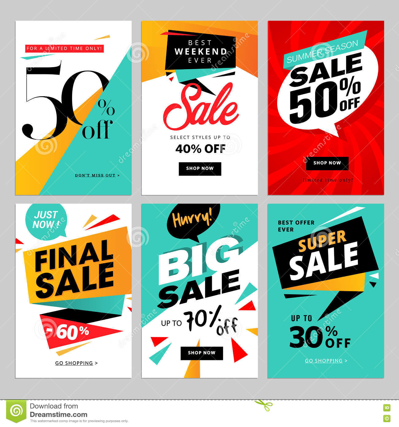 Flat Design Eye Catching Sale Website Banners For Mobile ...