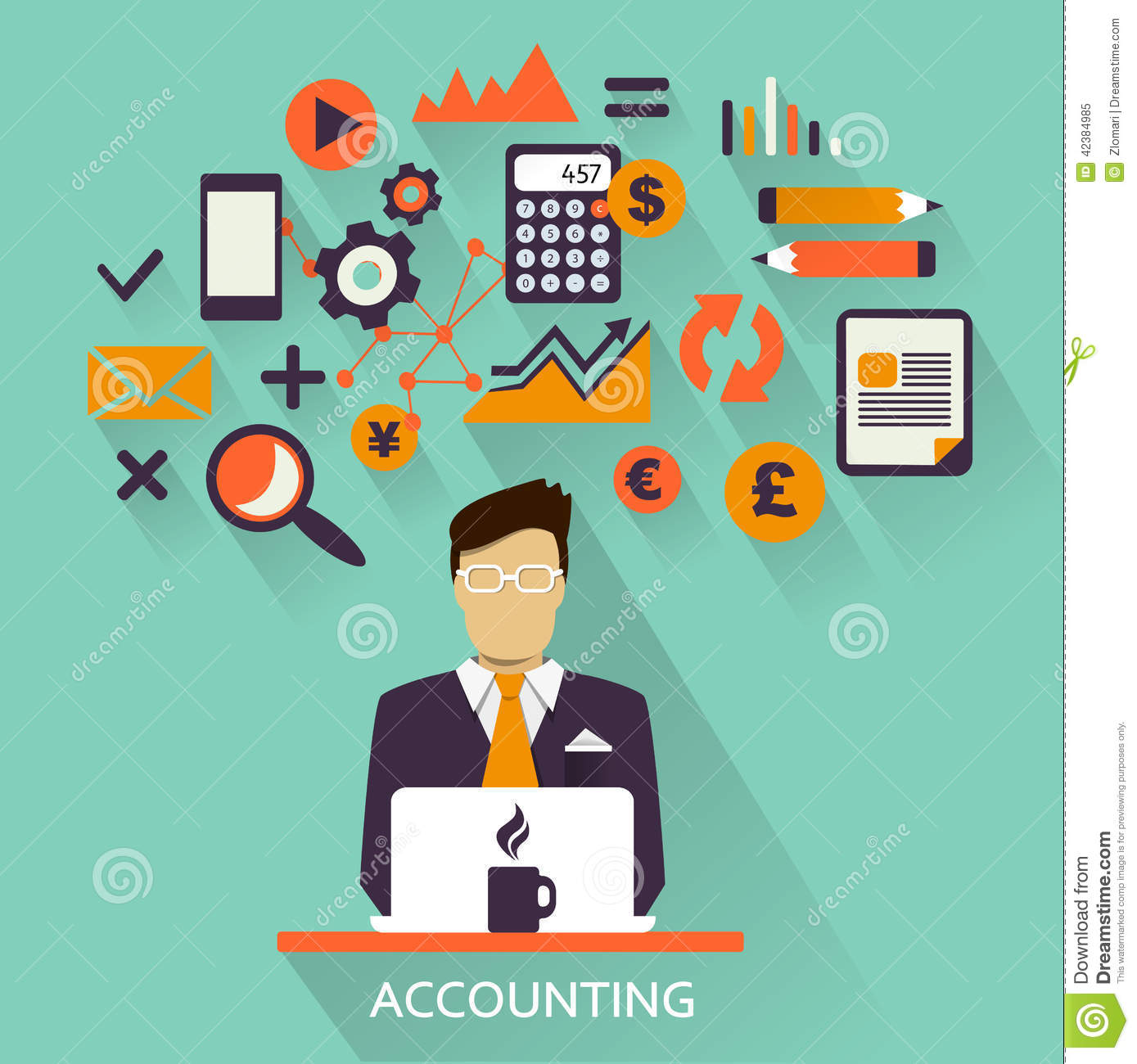 Flat Design . Freelance Career. Accounting Stock Vector - Image ...