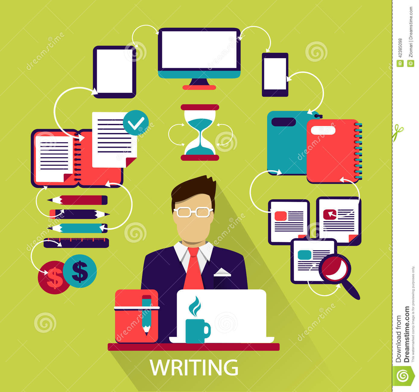 flat design lance career writing stock vector image flat design lance career writing