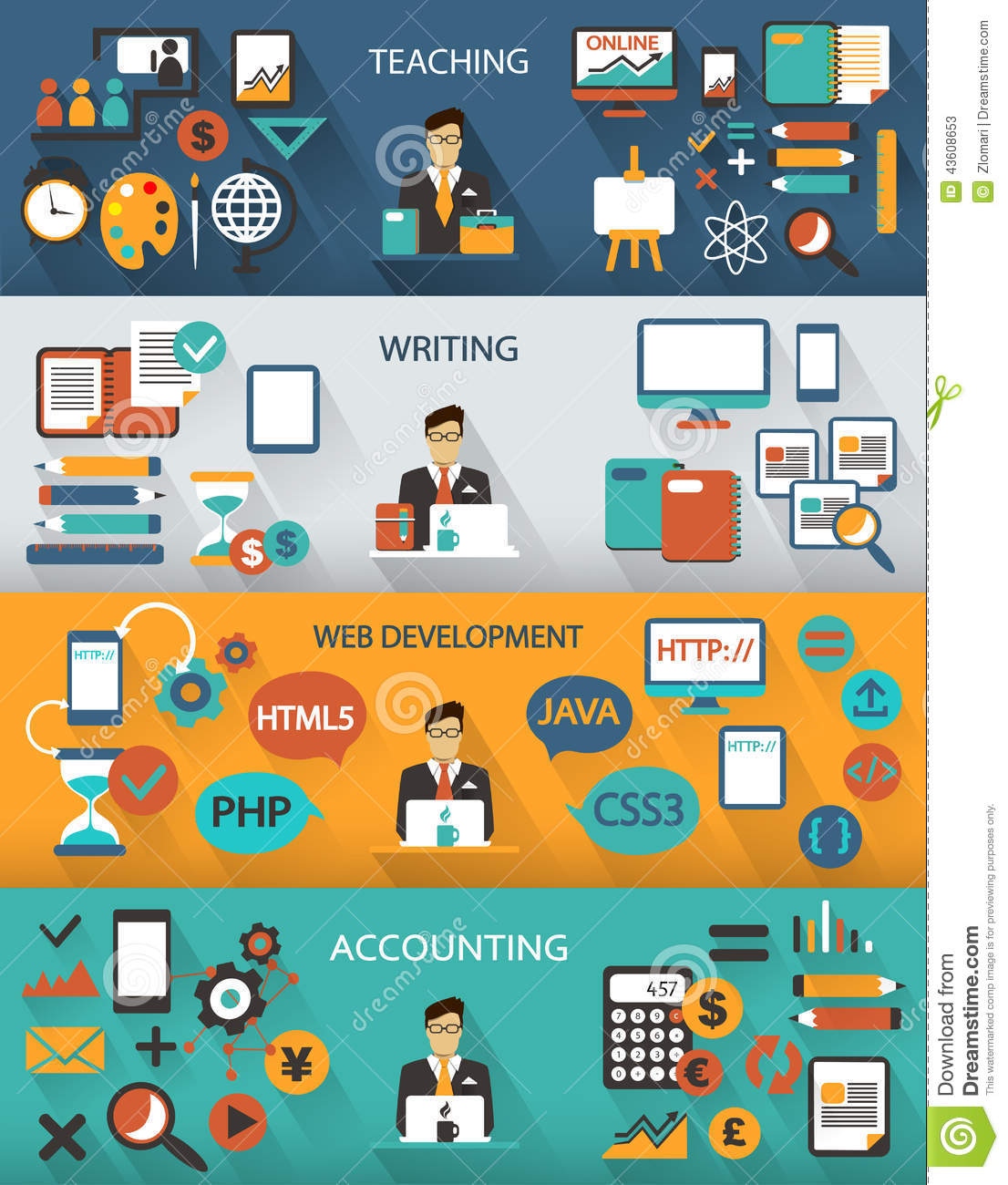 flat design freelance jobs infographic with long shadows